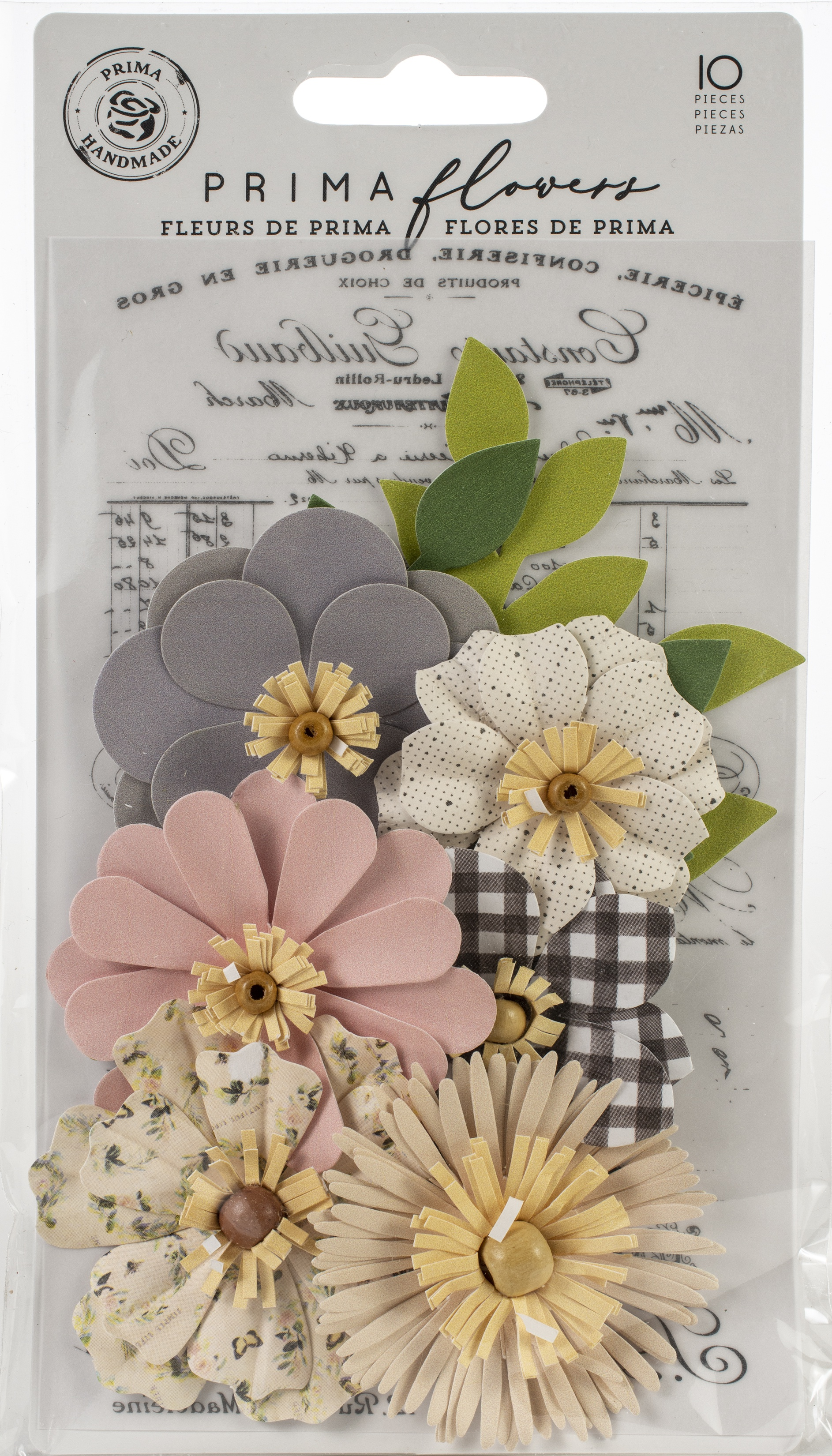 Prima Marketing Mulberry Paper Flowers  -Gather/Spring Farmhouse, 10/Pkg