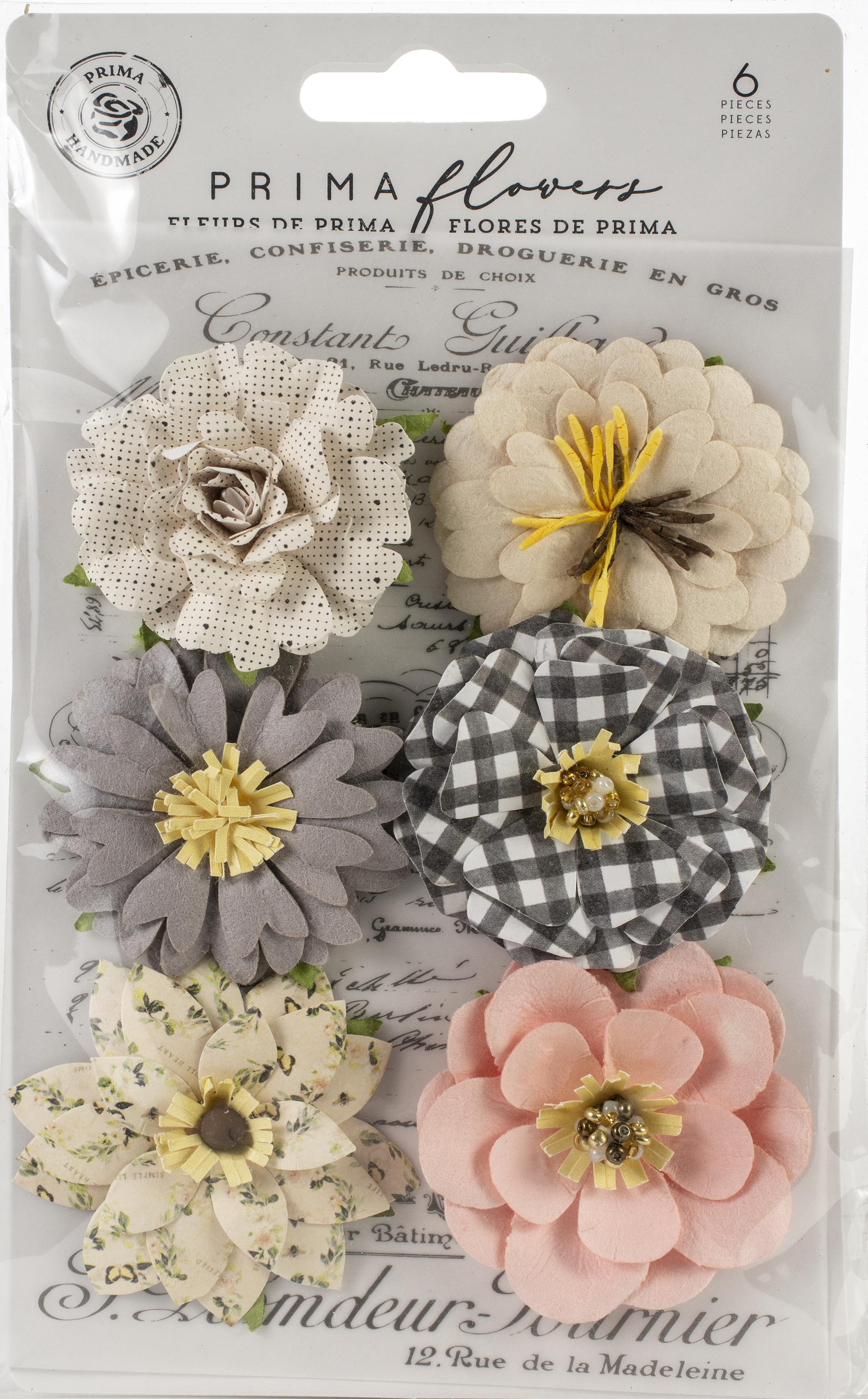 Prima Marketing Mulberry Paper Flowers  -Farmhouse Delight/Spring Farmhouse, 6/P...