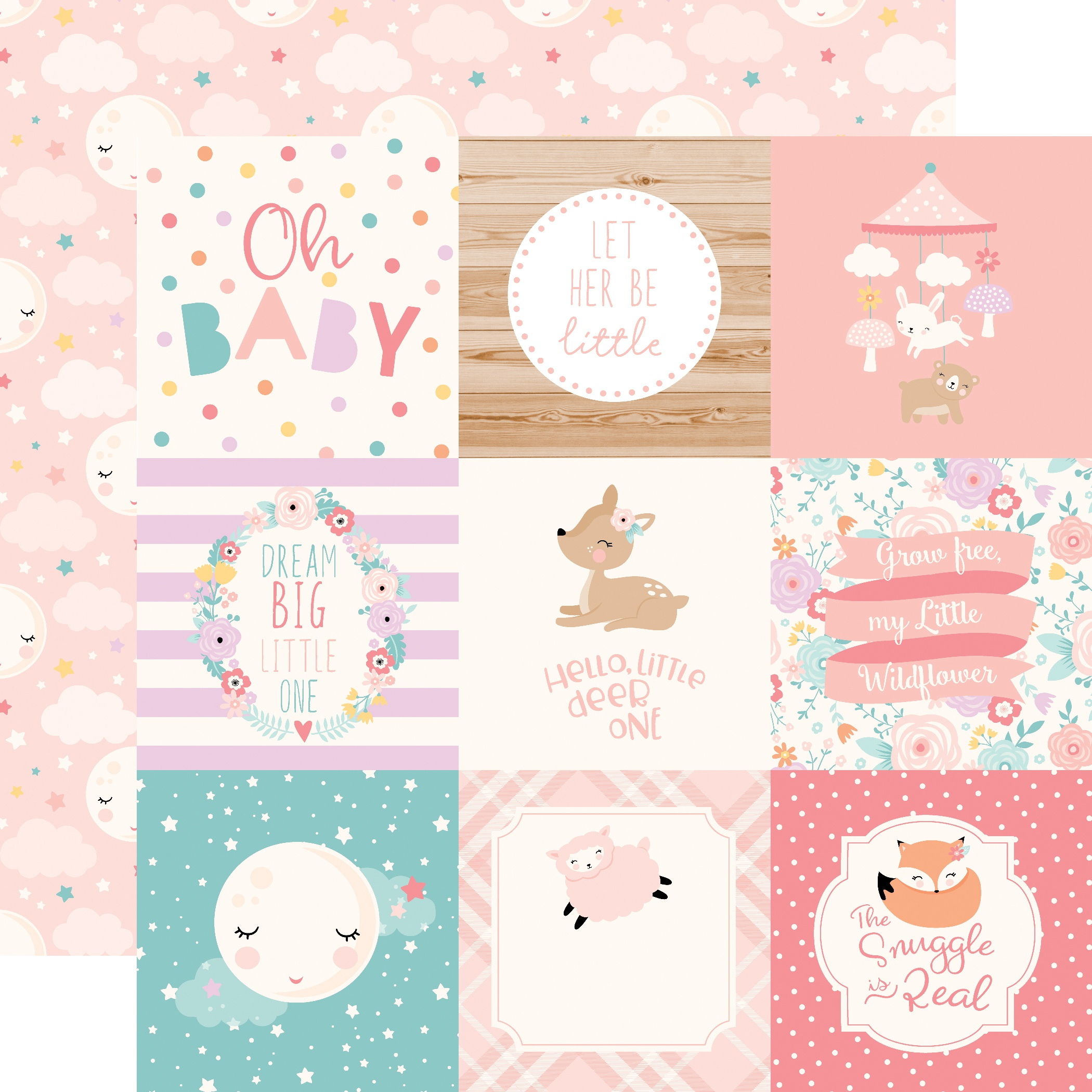 PPR - HELLO BABY IT'S A GIRL 4X4 JOURNALING CARDS