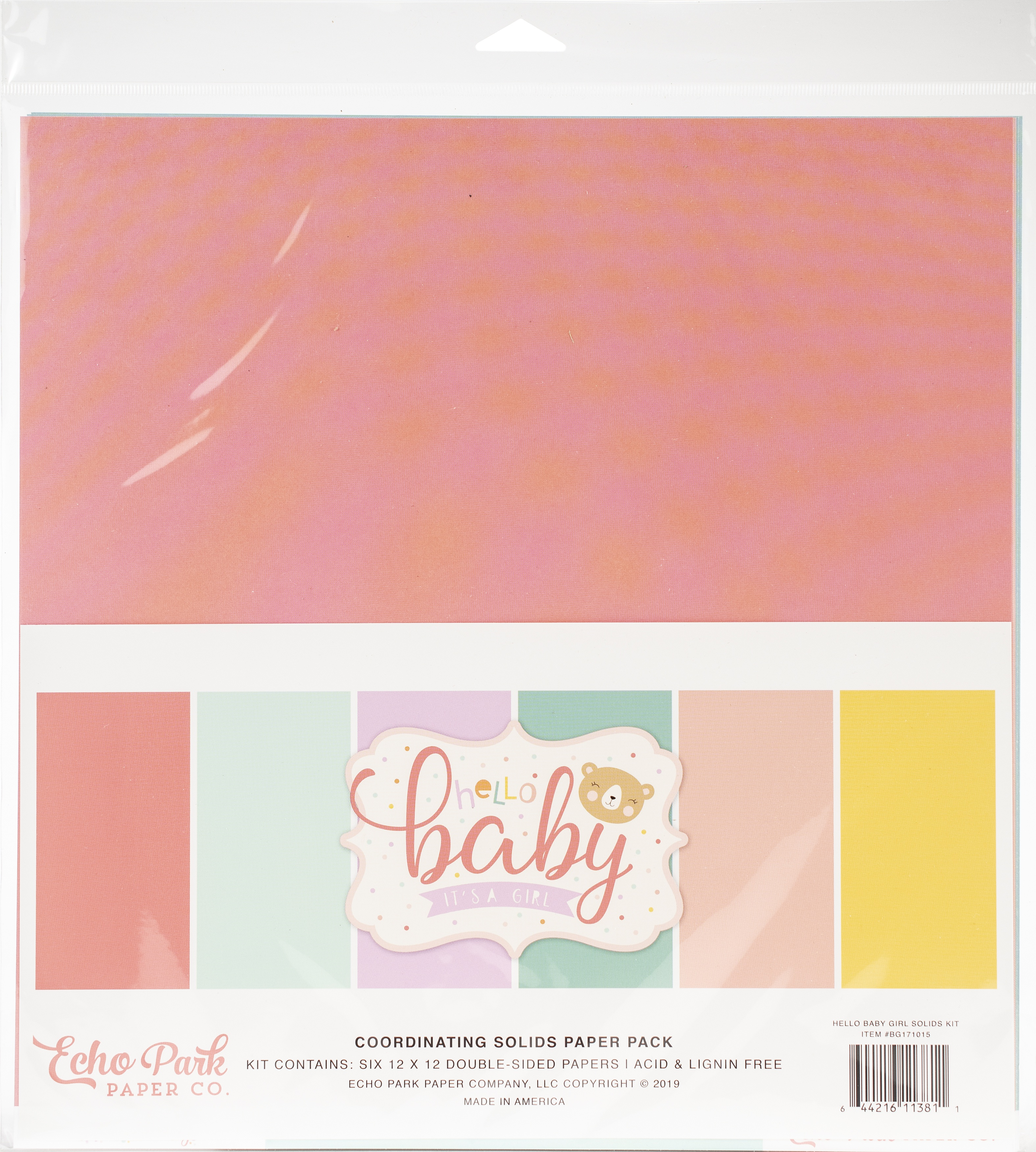 Hello Baby Girl Solids + - Echo Park Double-Sided Solid Cardstock 12X12 6/Pkg 6 Colors