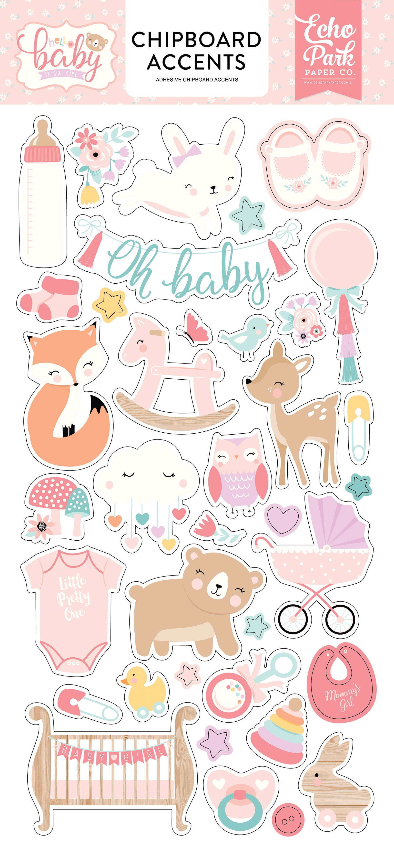 STKR - HELLO BABY IT'S A GIRL  CHIPBOARD ACCENTS