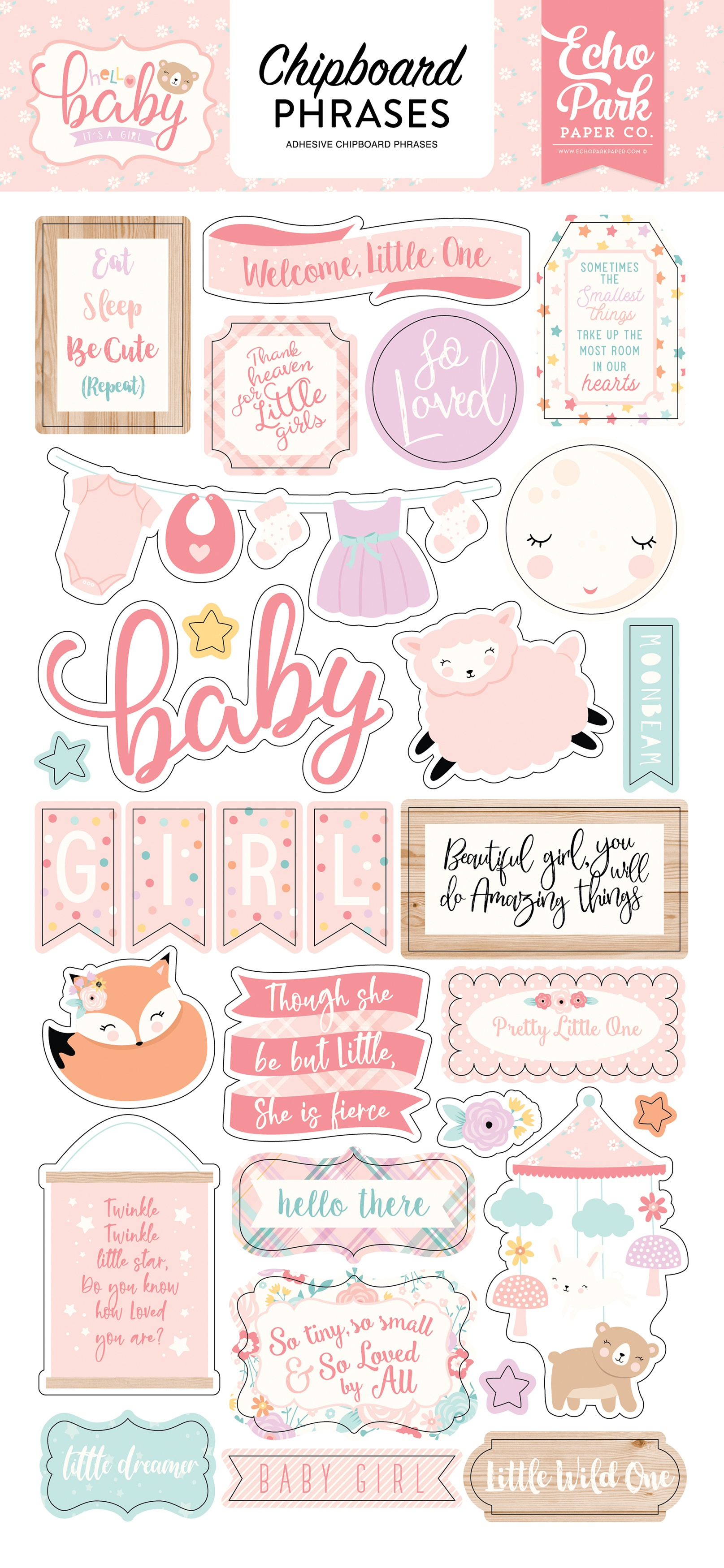 STKR - HELLO BABY IT'S A GIRL  CHIPBOARD PHRASES