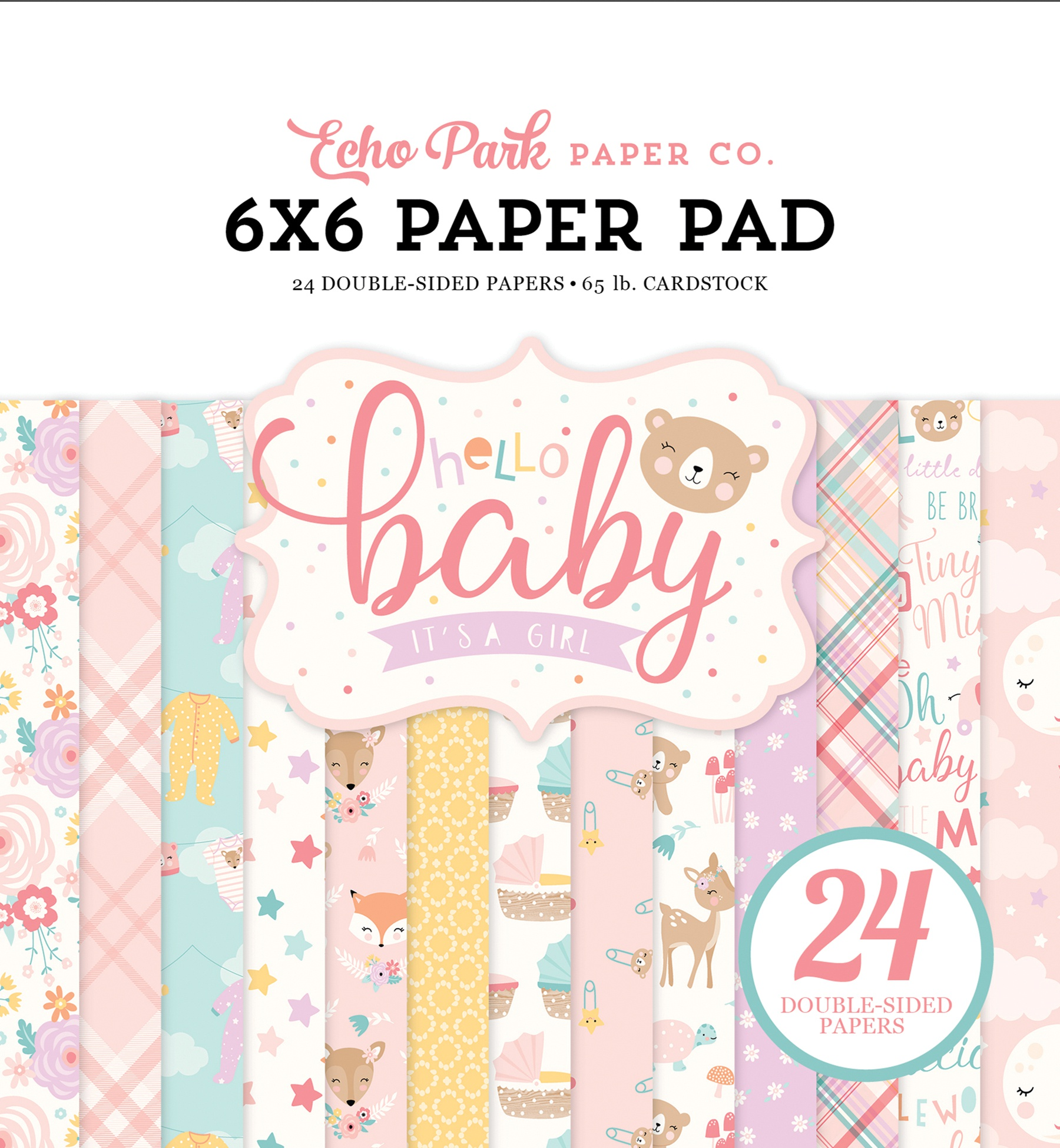 Echo Park Double-Sided Paper Pad 6X6 24/Pkg-Hello Baby Girl, 12 Designs/2 Each