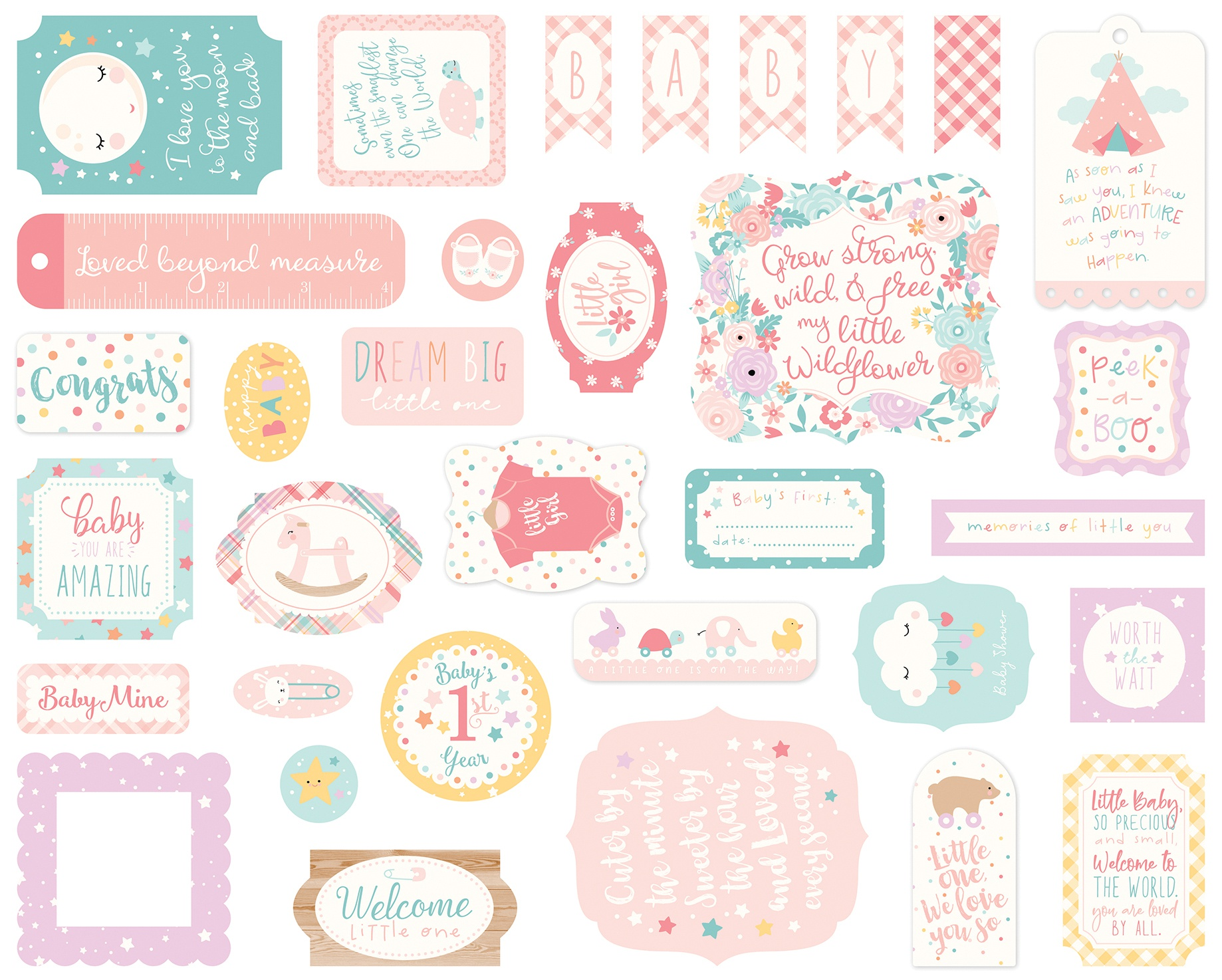 Echo Park - Hello Baby Girl Ephemera Die Cuts Pieces