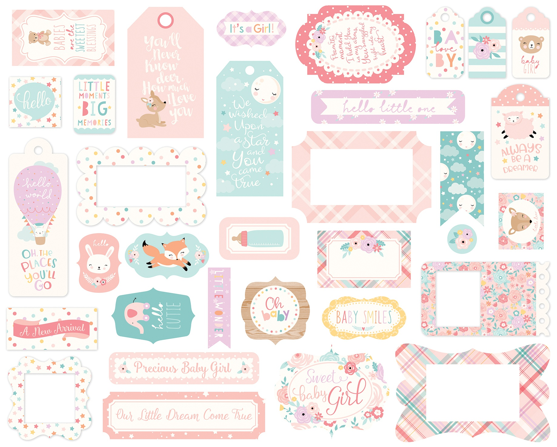 Echo Park - Hello Baby Girl Frames & Tags