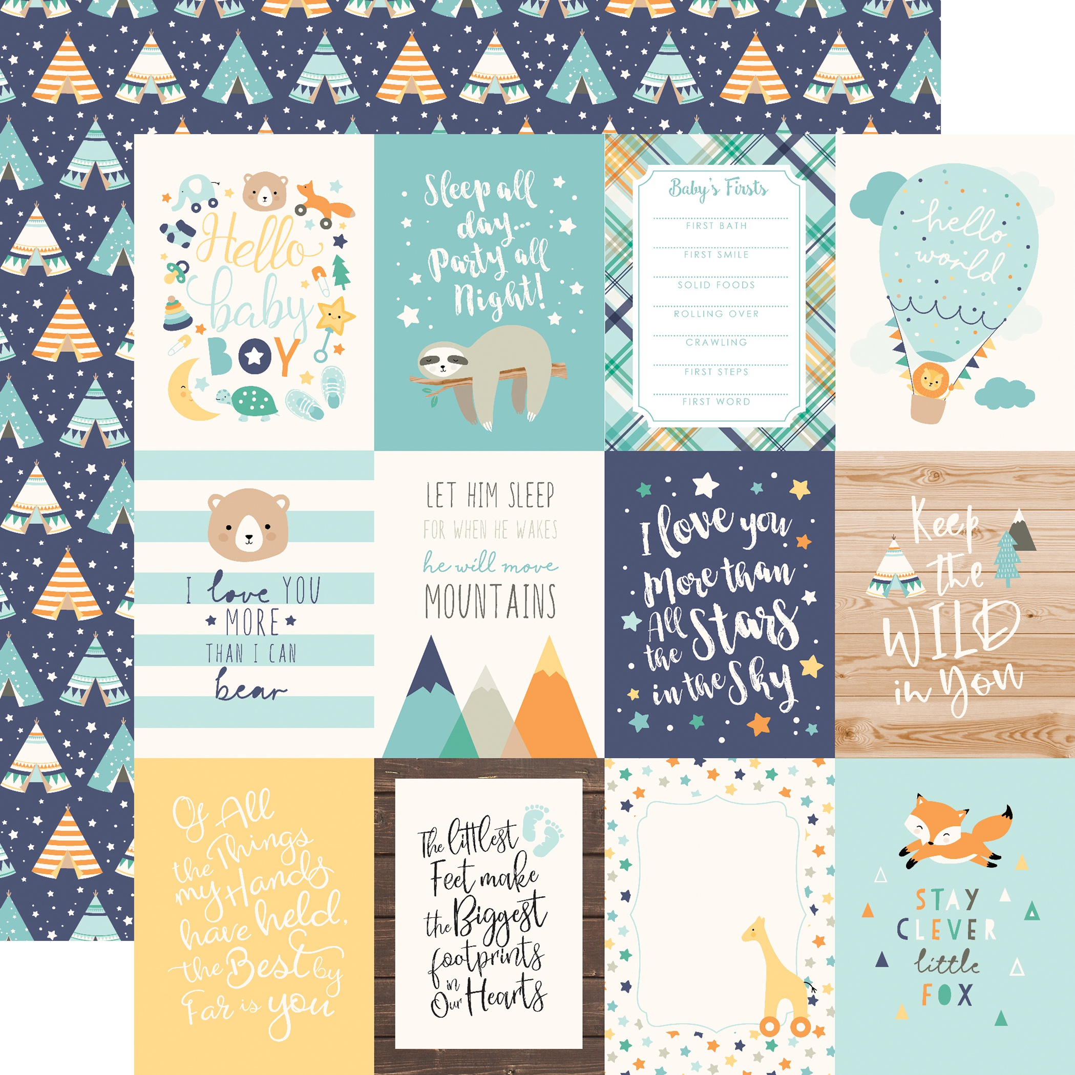 Echo Park Hello Baby - 3x4 Journaling Cards