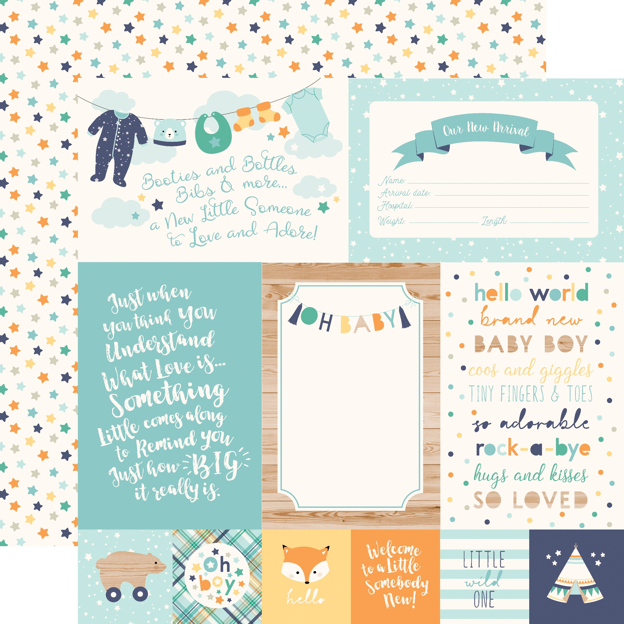 Hello Baby Boy Double-Sided Cardstock 12X12-4X6 Journaling Cards