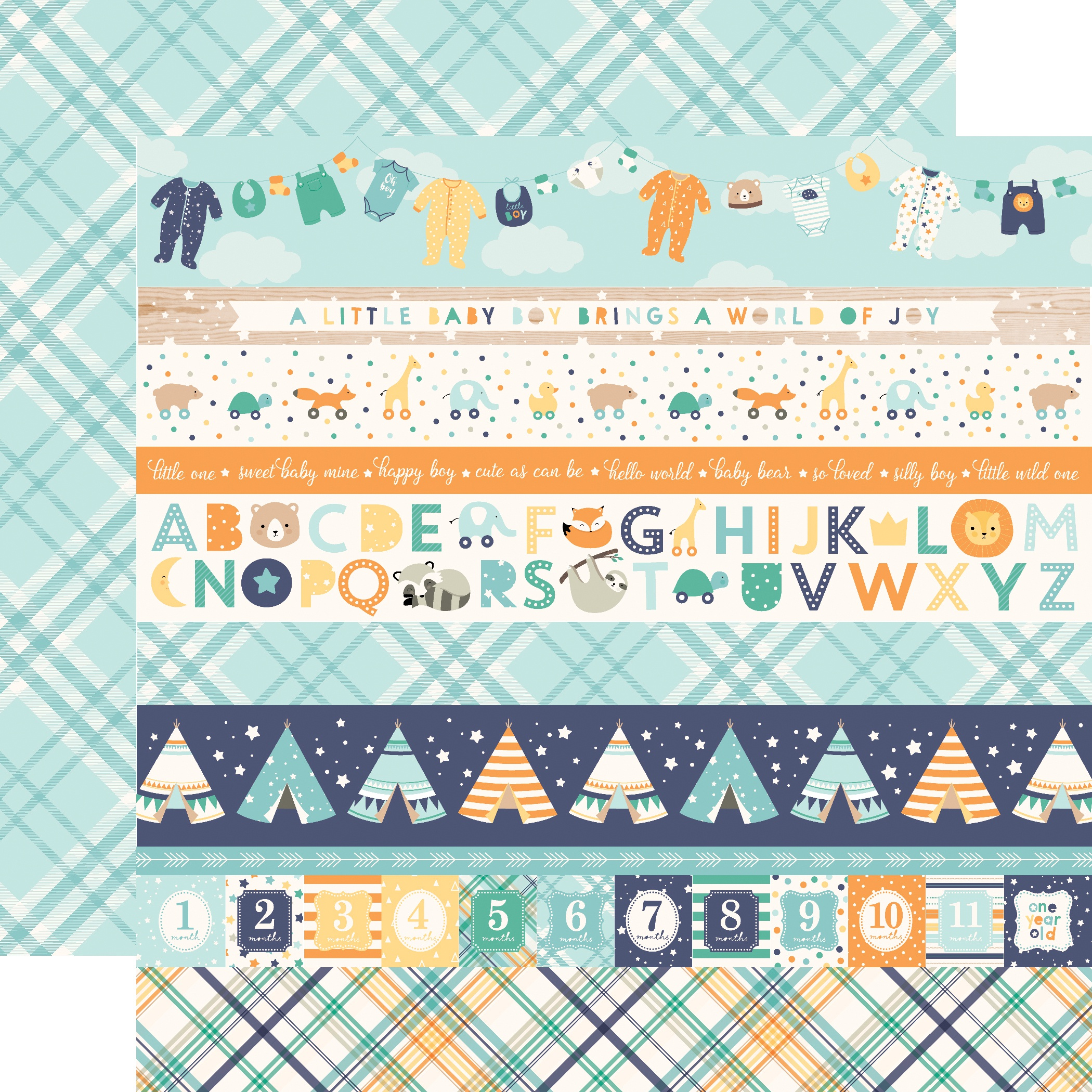 Hello Baby Boy Double-Sided Cardstock 12X12-Border Strips