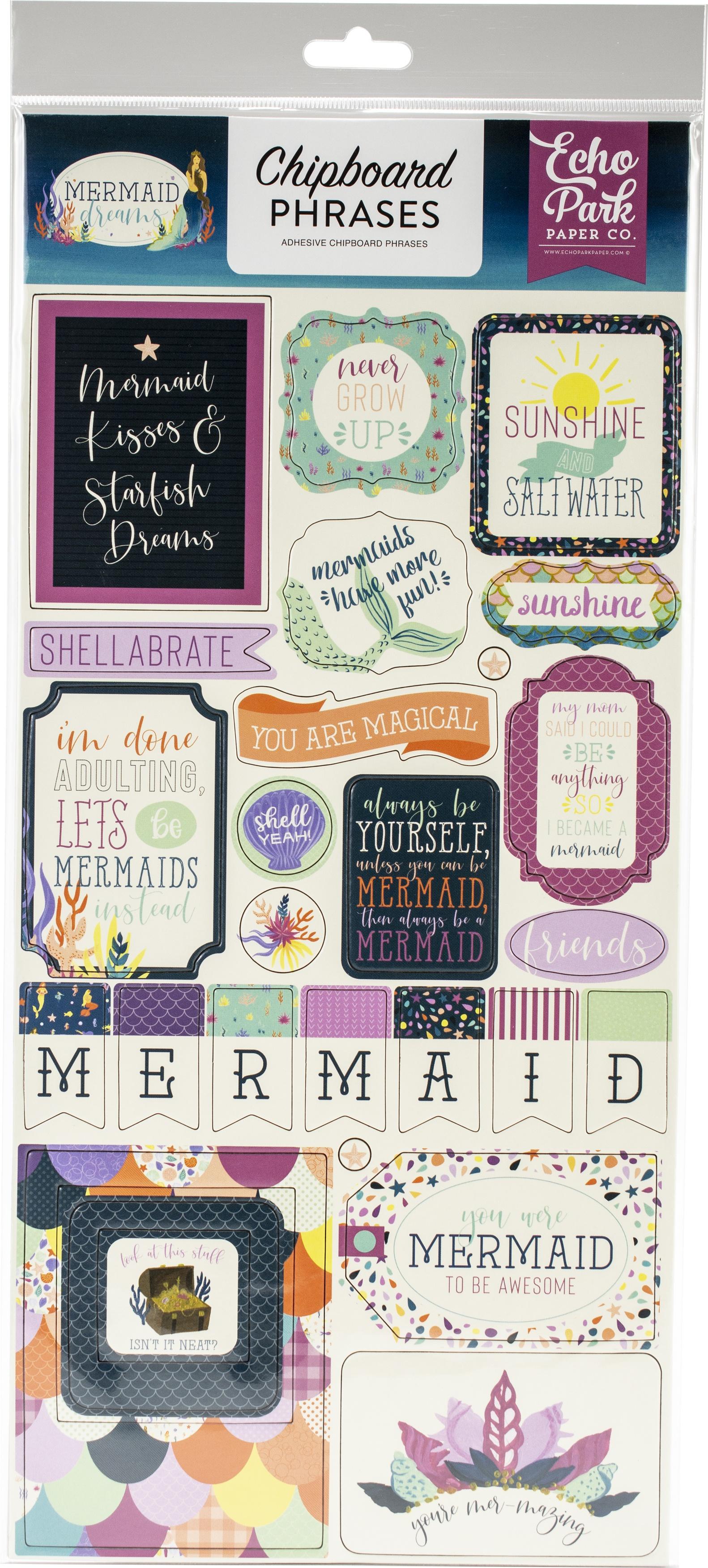 Mermaid Dreams Chipboard 6X13-Phrases