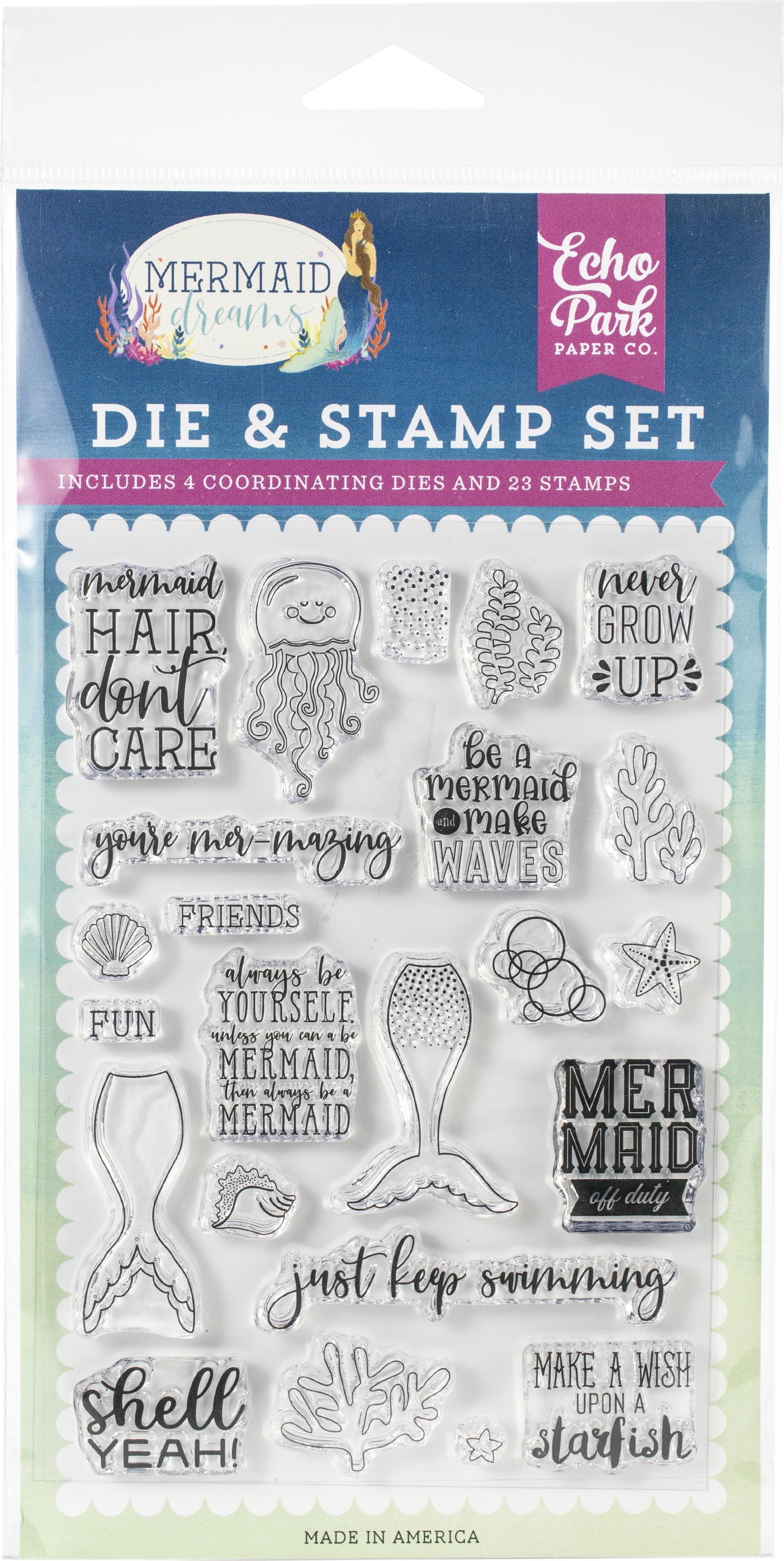Echo Park Die & Stamp Combo Set-Be A Mermaid
