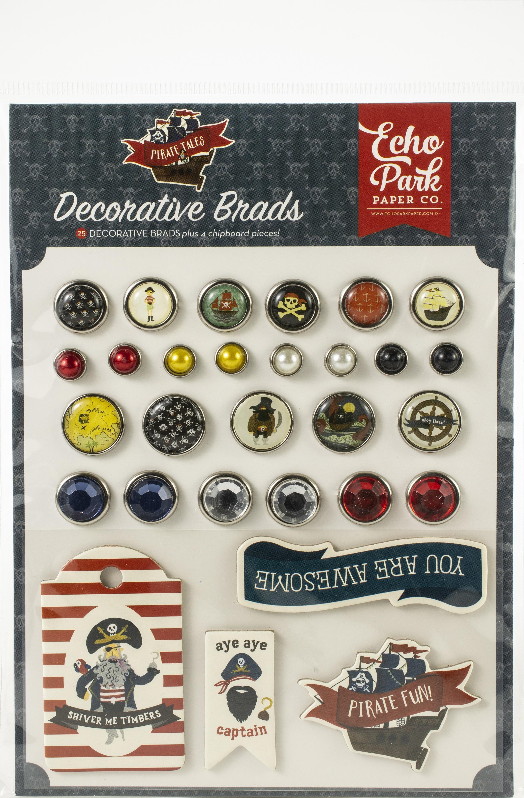 Echo Park Pirate Tales Decorative Brads 25/Pkg-Plus 4 Chipboard Pieces