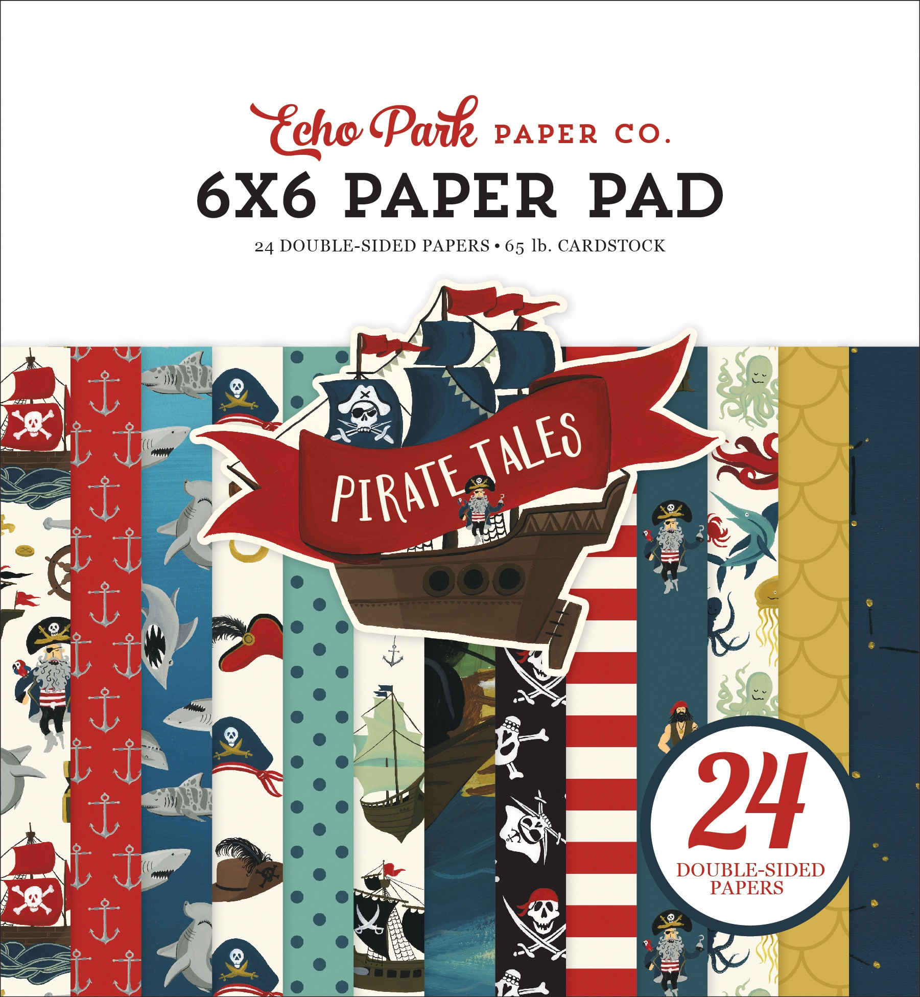 Echo Park Double-Sided Paper Pad 6X6 24/Pkg-Pirate Tales, 12 Designs/2 Each