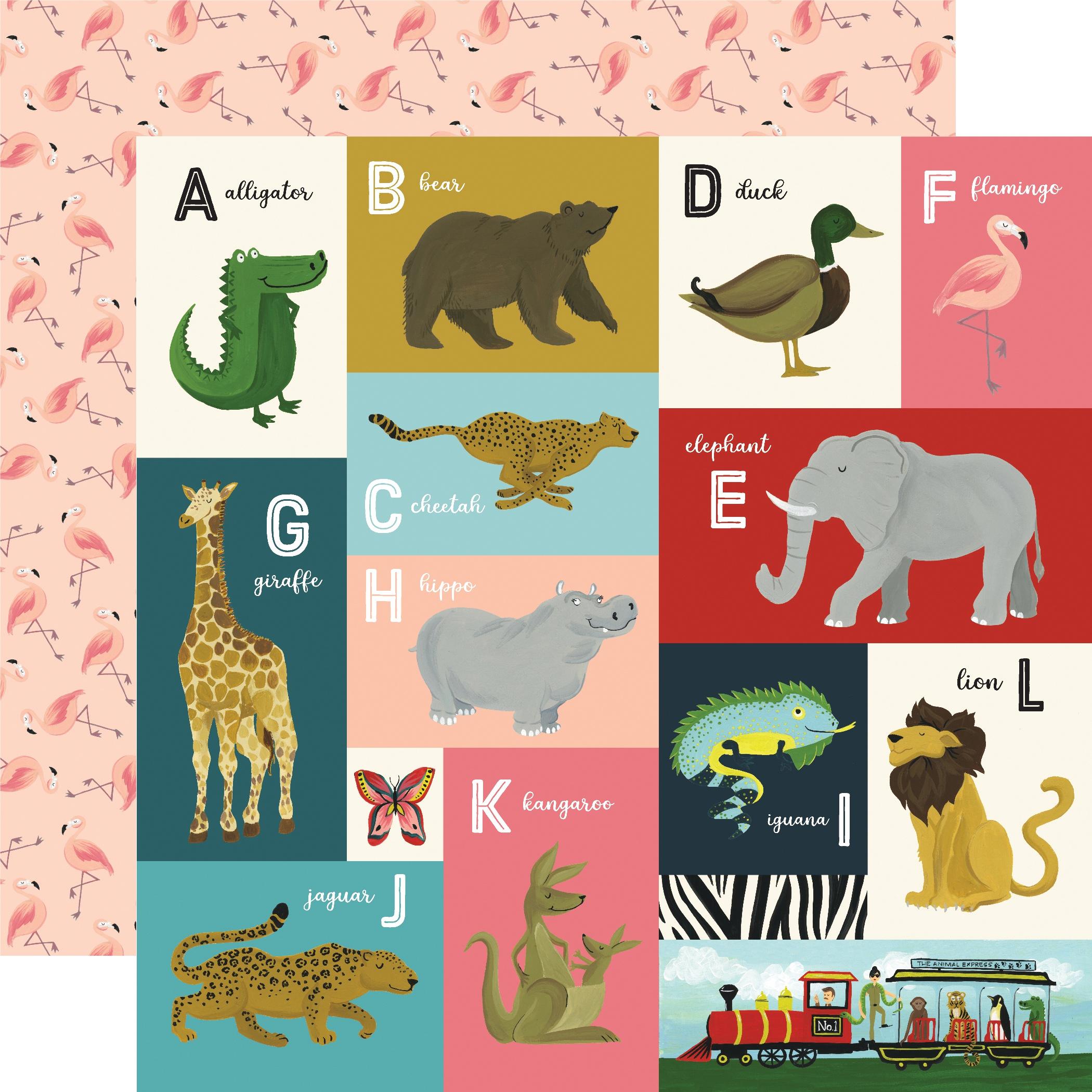 Animal Safari Double-Sided Cardstock 12X12-Animal Alphabet Cards A-L