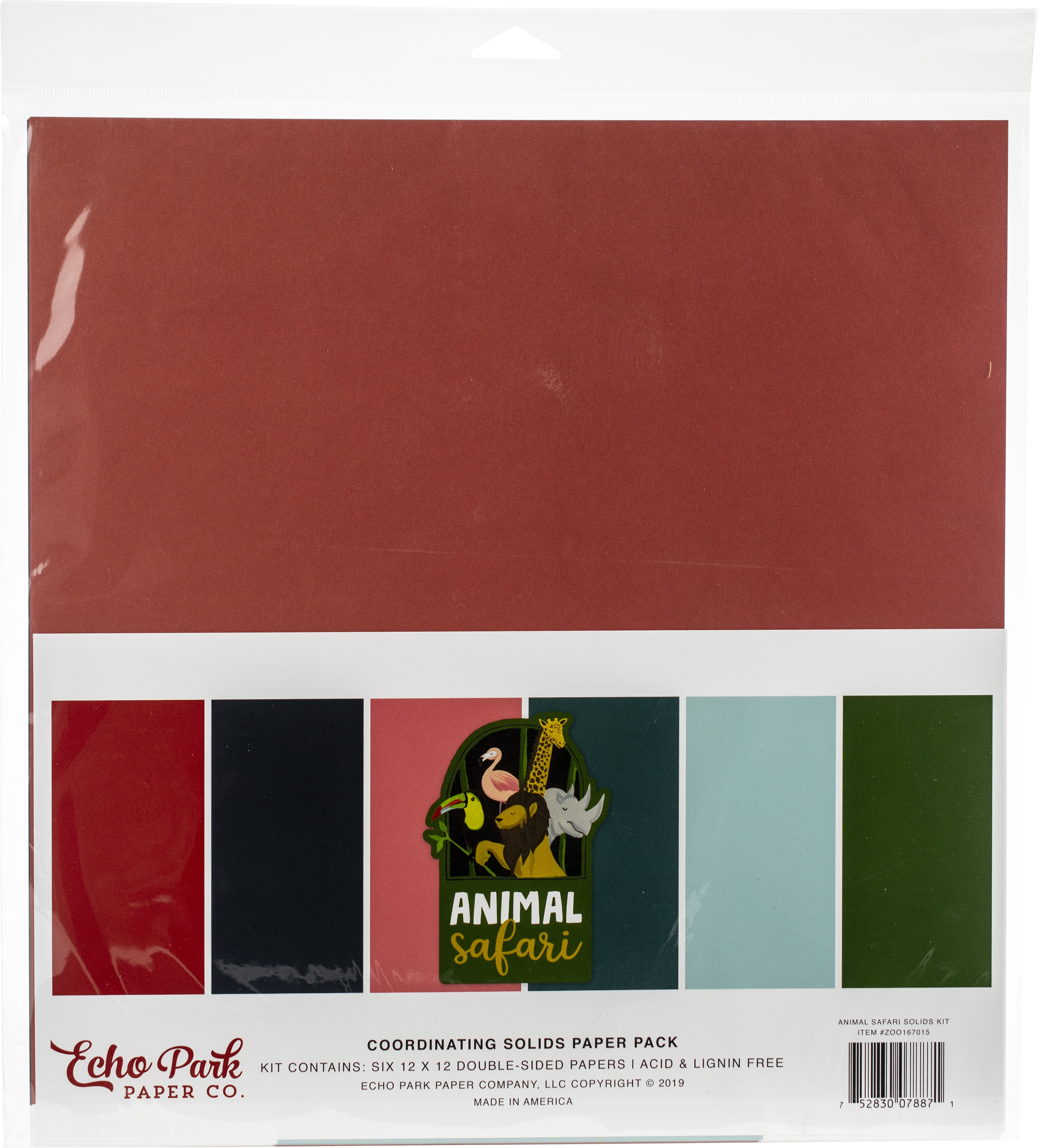 Echo Park Double-Sided Solid Cardstock 12X12 6/Pkg-Animal Safari, 6 Colors