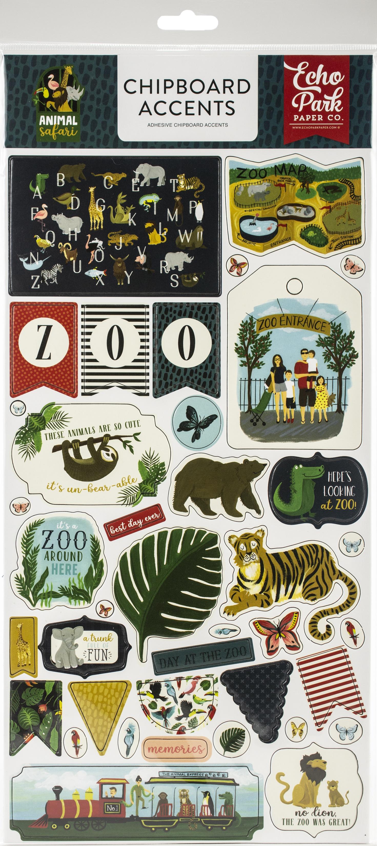 Animal Safari Chipboard 6X13-Accents