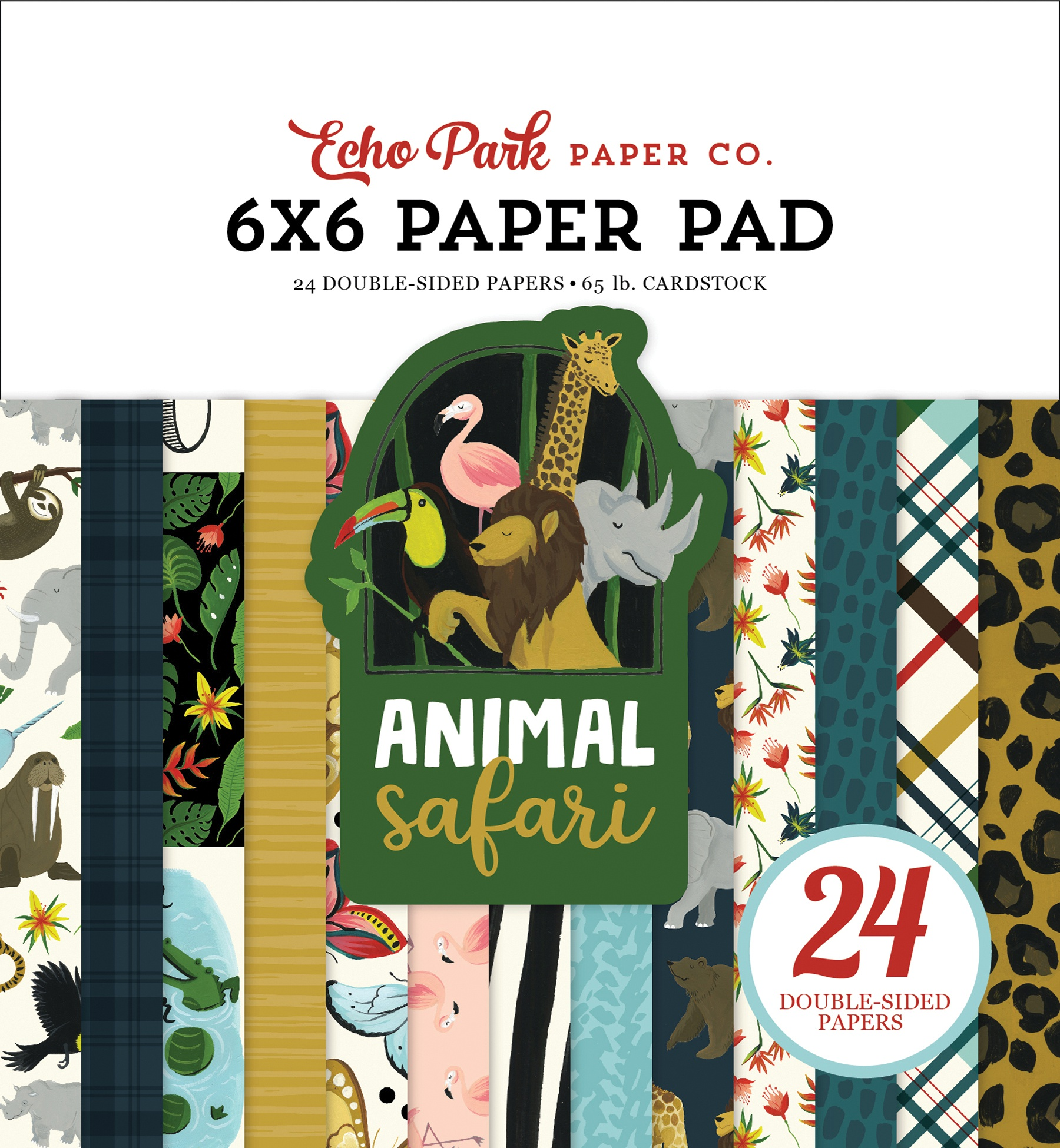 Echo Park Double-Sided Paper Pad 6X6 24/Pkg-Animal Safari, 12 Designs/2 Each