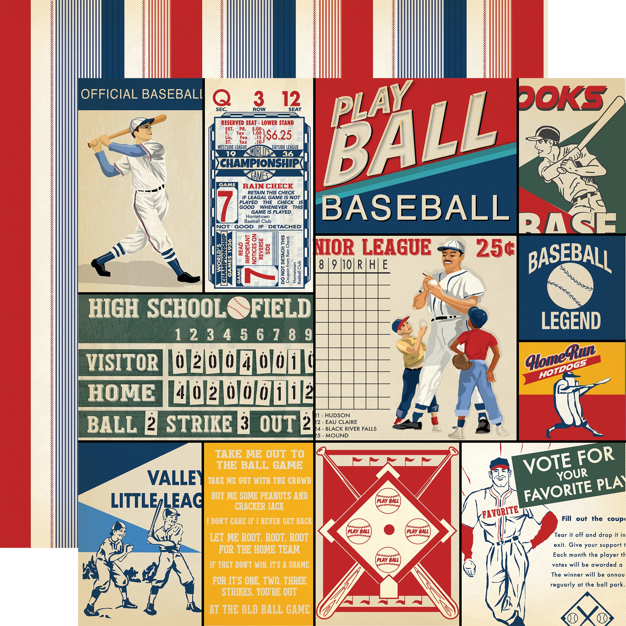 Baseball Double-Sided Cardstock 12X12-Multi Journaling Cards