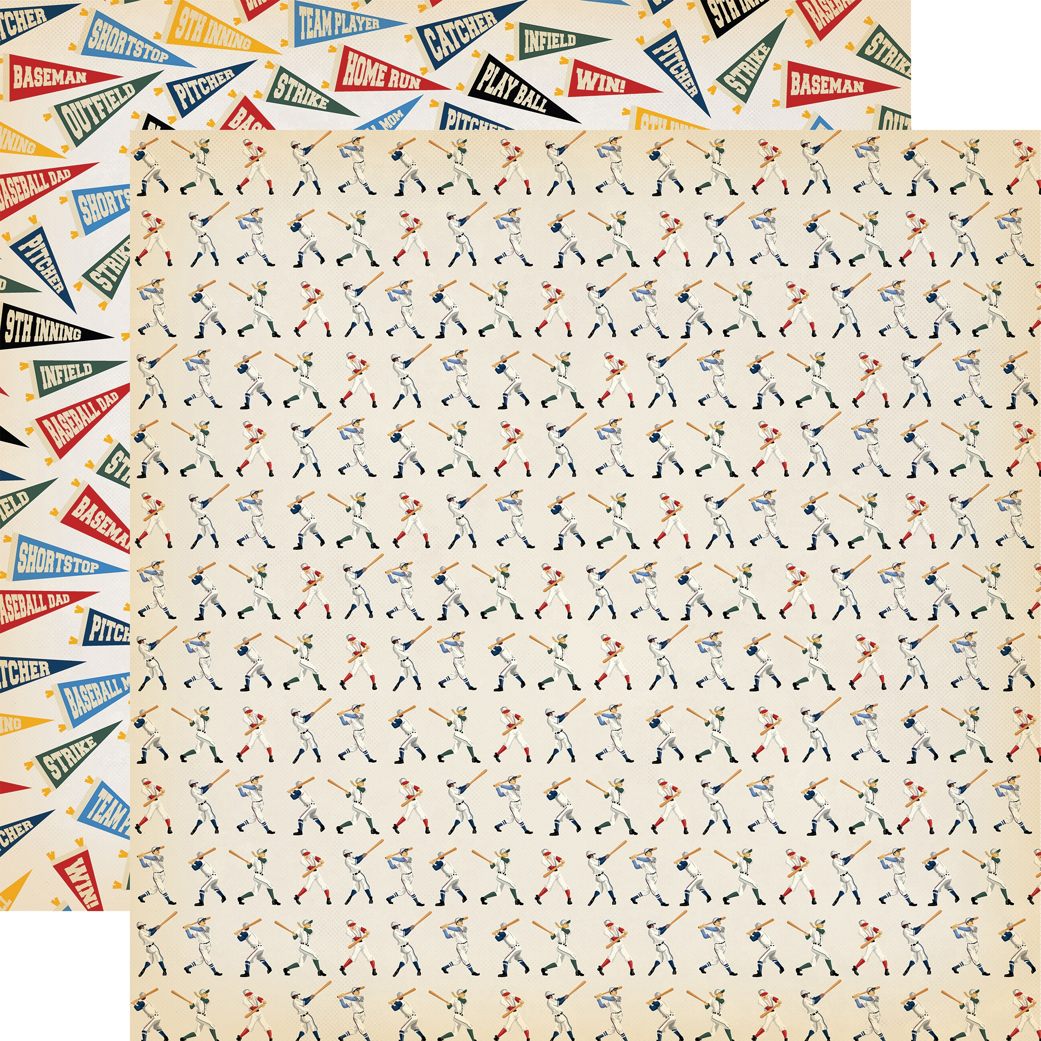 Baseball Double-Sided Cardstock 12X12-Batter Up