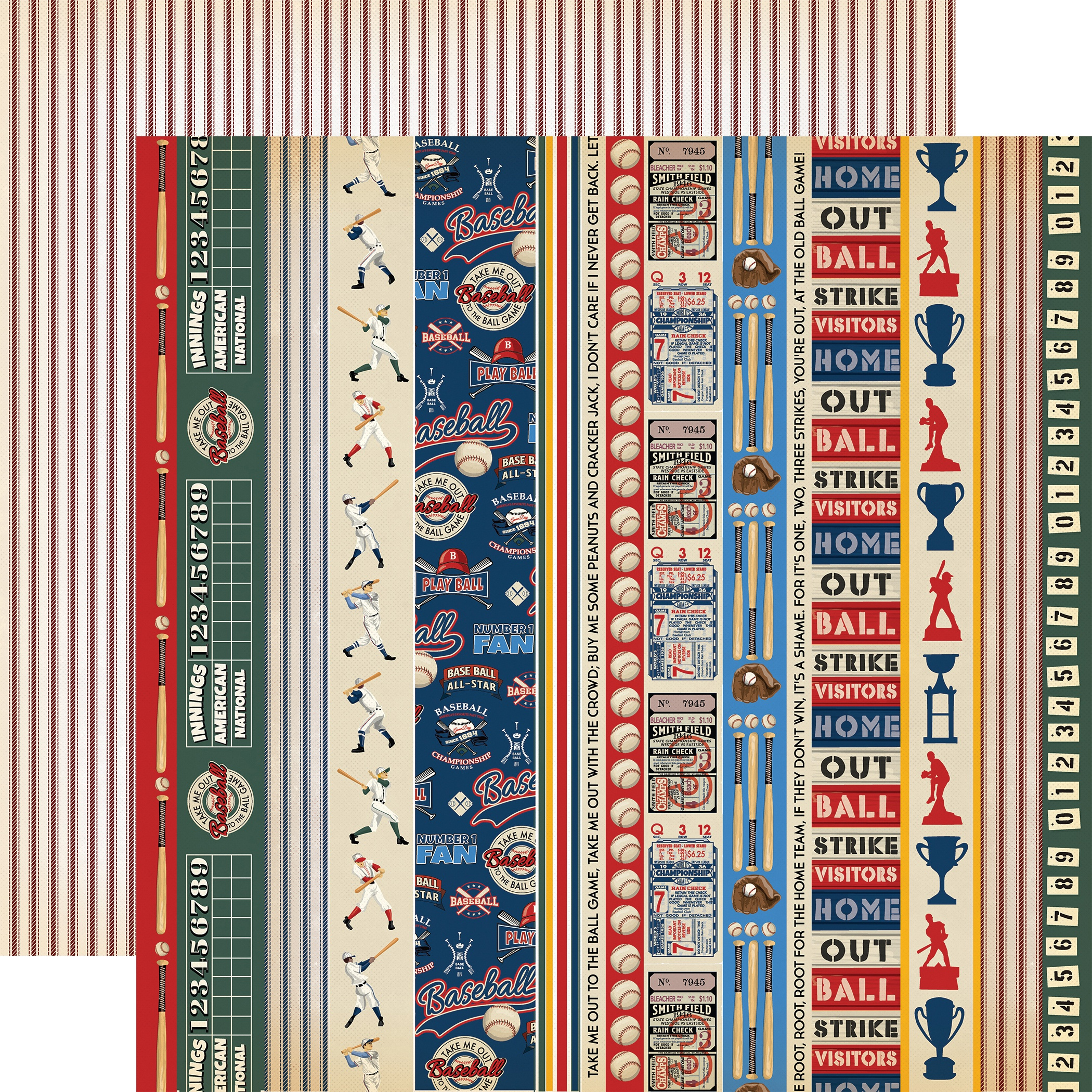 Baseball Double-Sided Cardstock 12X12-Border Strips