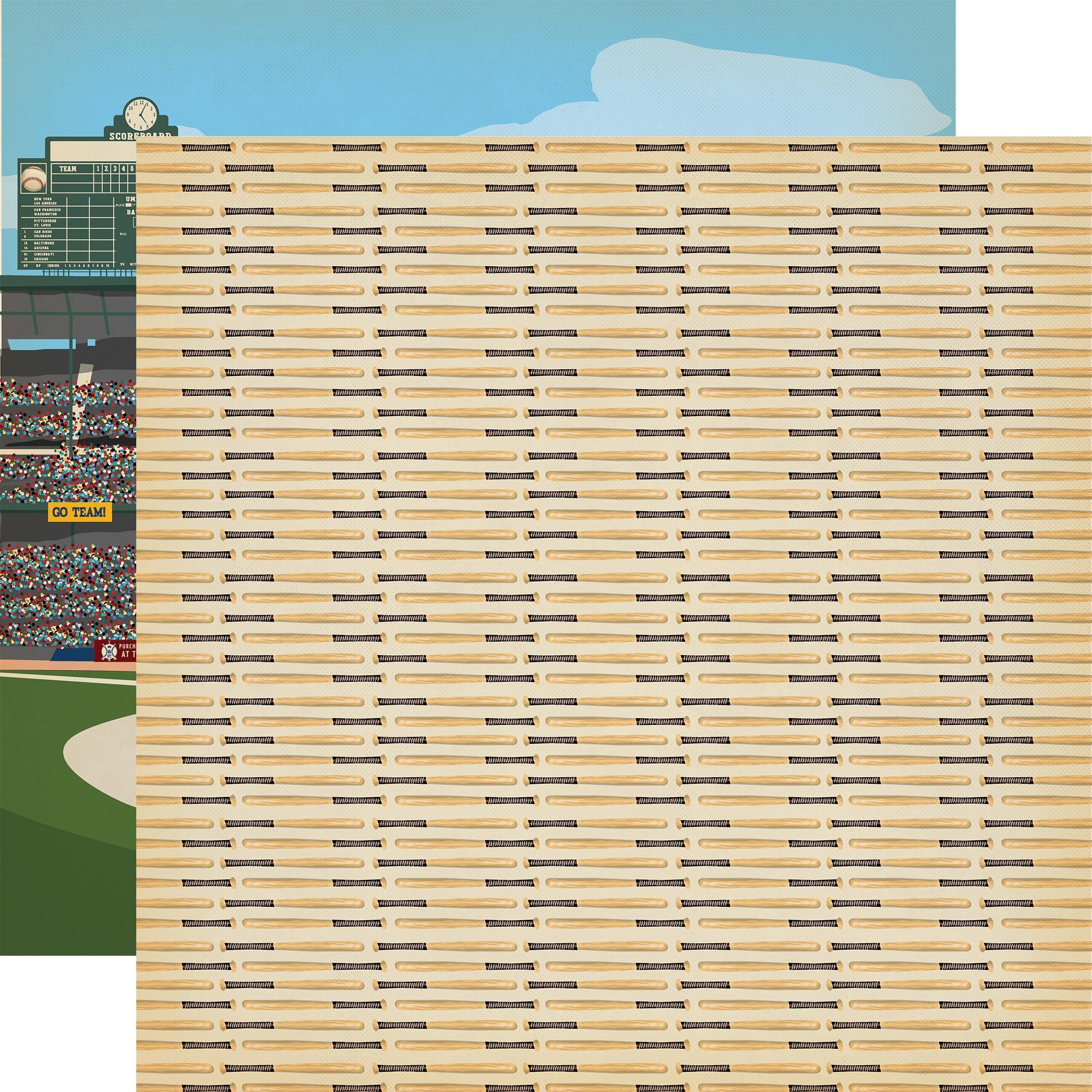 Baseball Double-Sided Cardstock 12X12-Hey Batter Batter