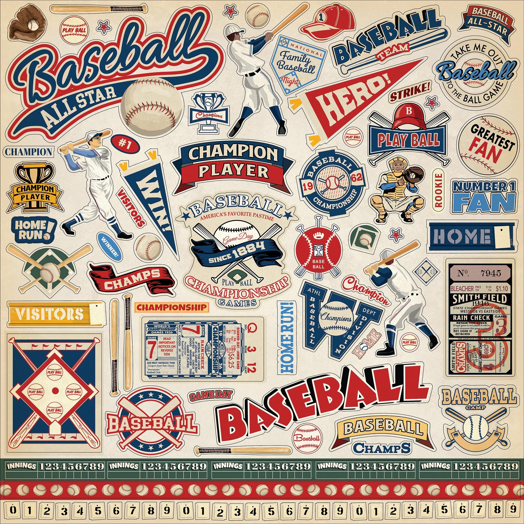 Baseball Cardstock Stickers 12X12-Elements