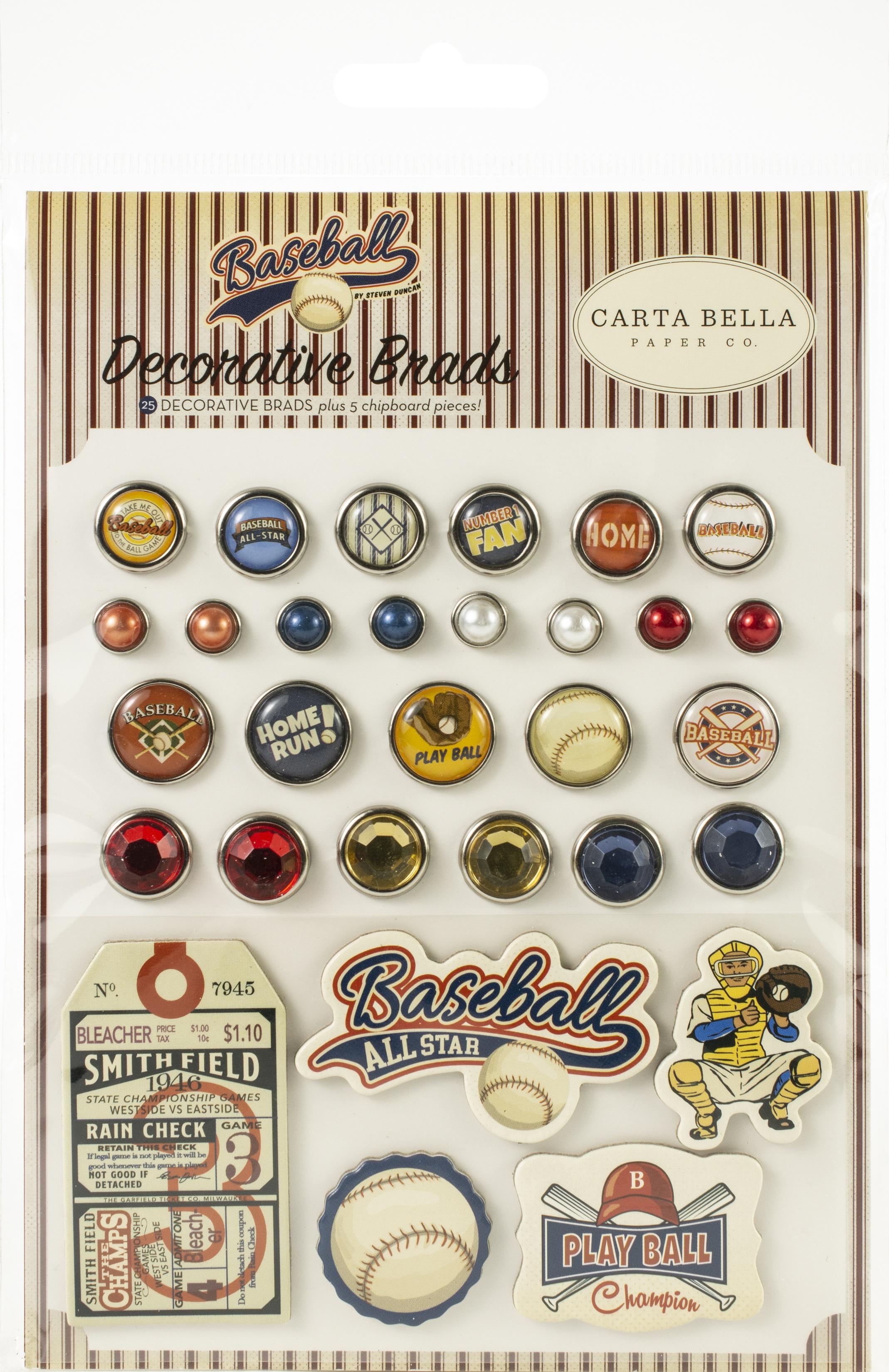 Carta Bella Decorative Brads -Baseball, 25/Pkg + 4 Chipboard