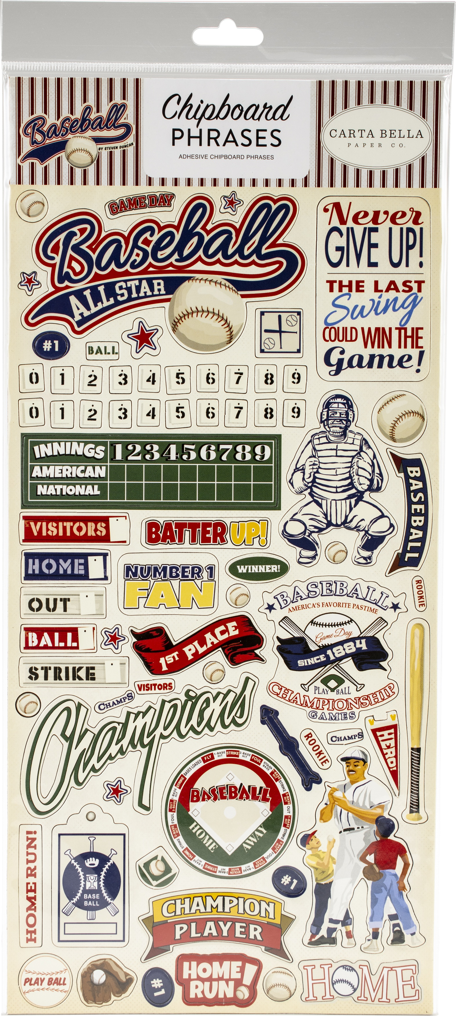 Baseball Chipboard 6X13-Phrases
