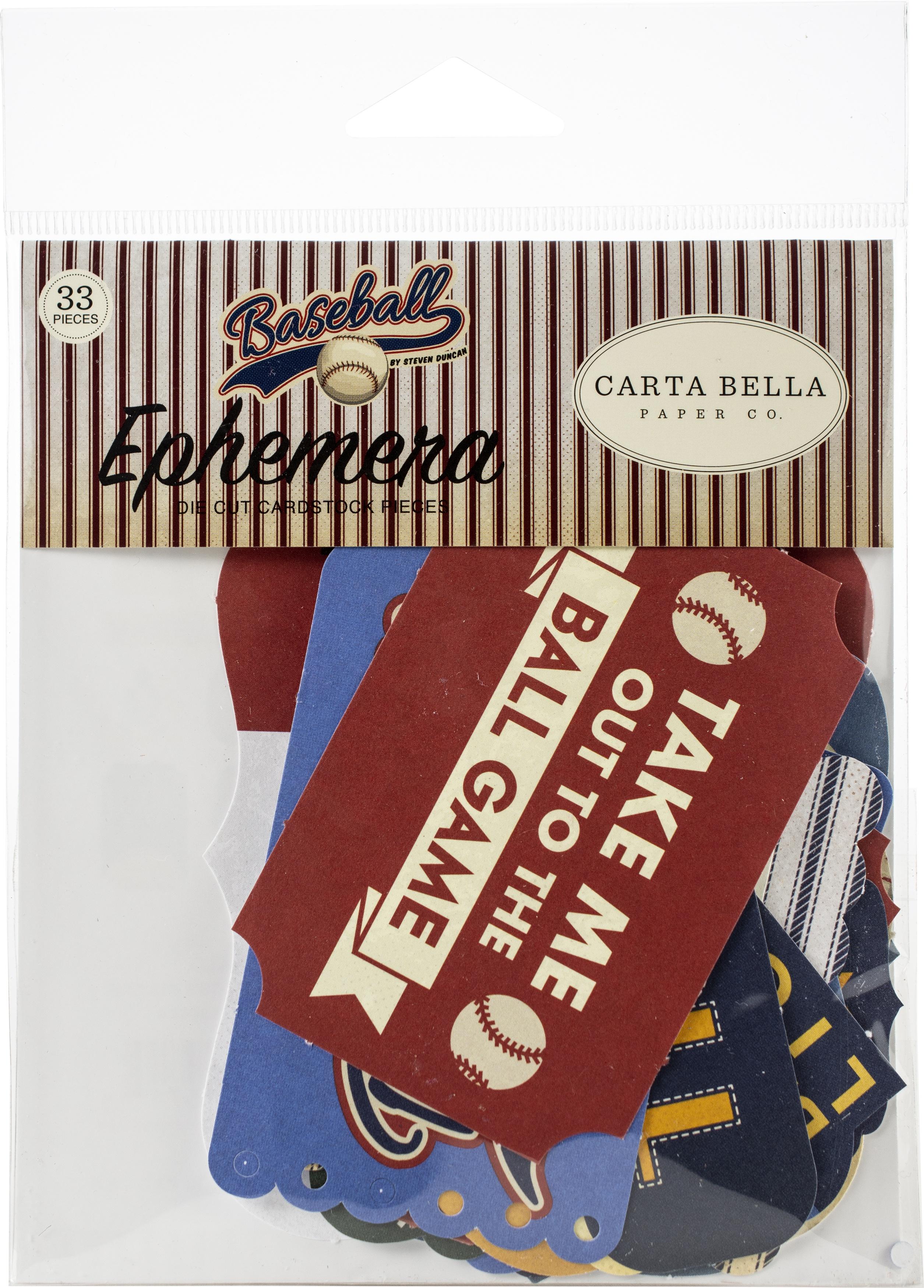 Carta Bella Cardstock Ephemera 33/Pkg-Icons, Baseball
