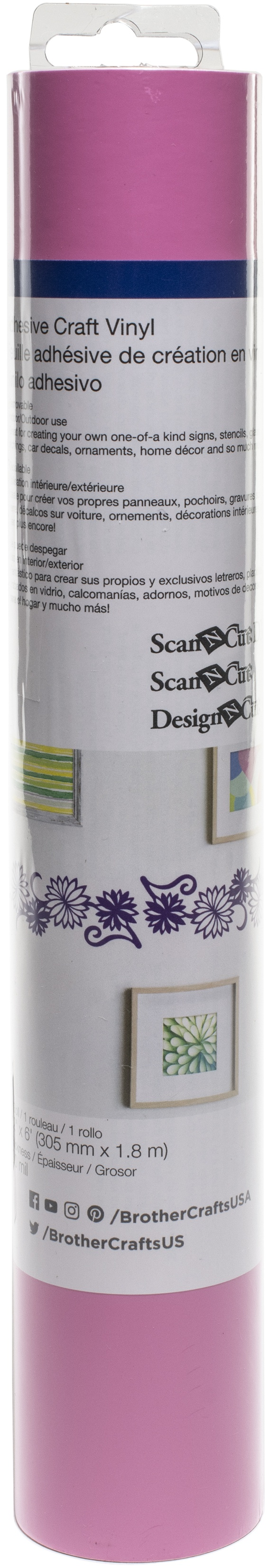 Brother ScanNCut SDX125 Adhesive Craft Vinyl Roll 6ft-Light Pink