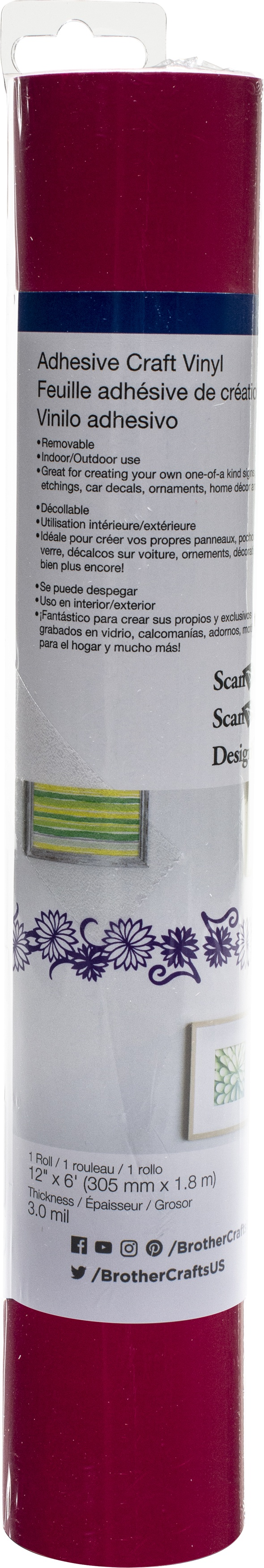 Brother ScanNCut SDX125 Adhesive Craft Vinyl Roll 6ft-Hot Pink