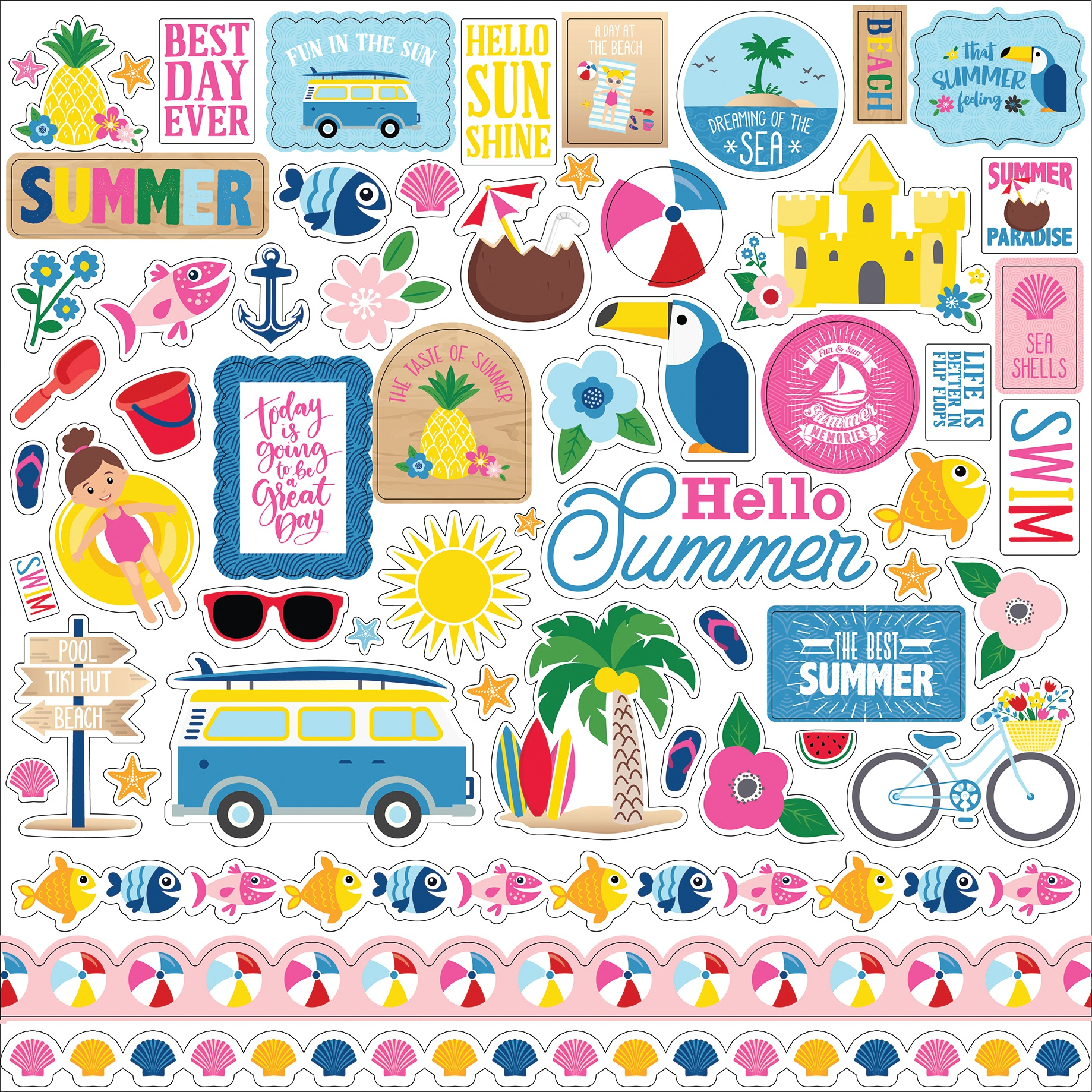I Love Summer Cardstock Stickers 12X12-Elements