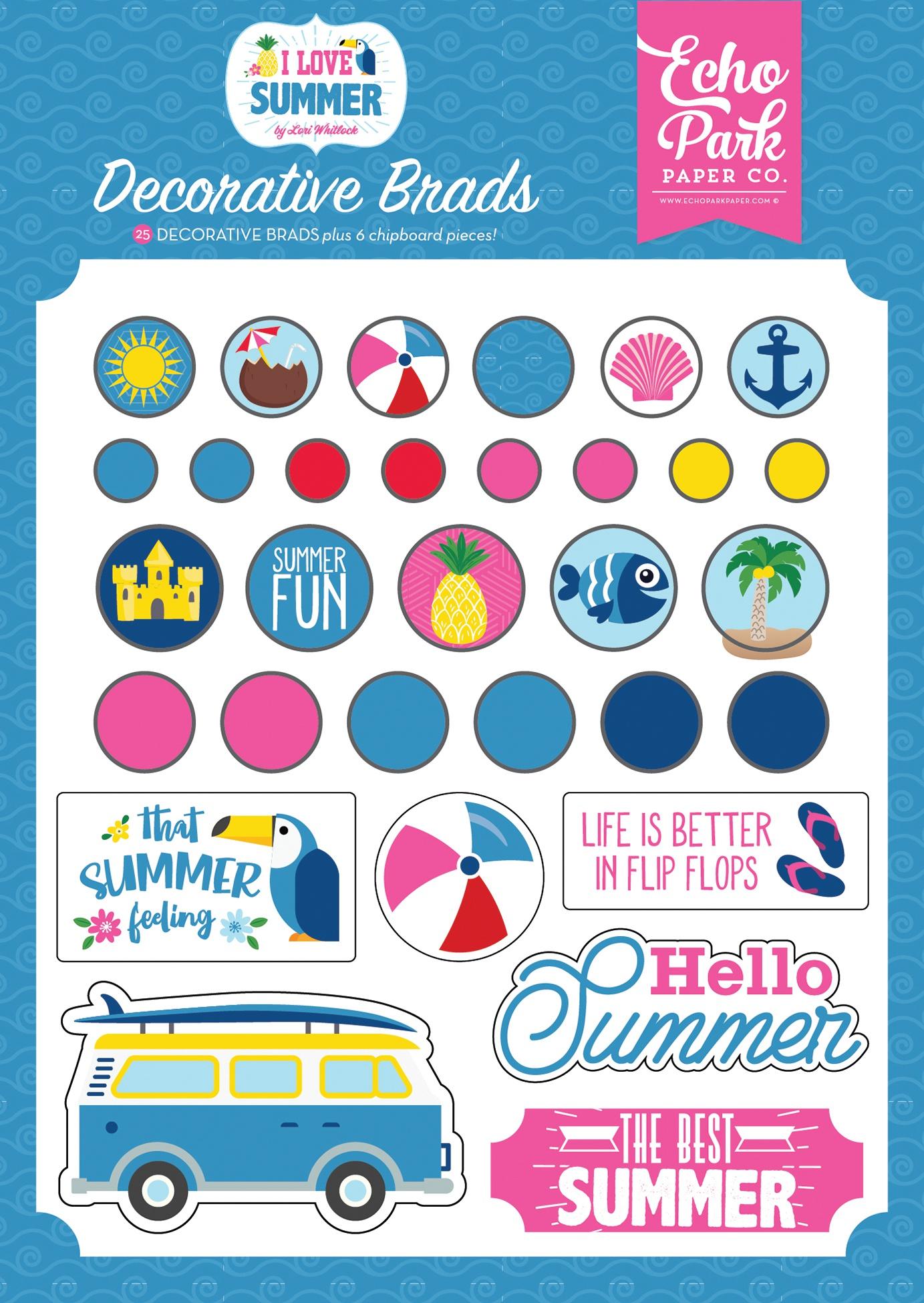 I Love Summer Decorative Brads