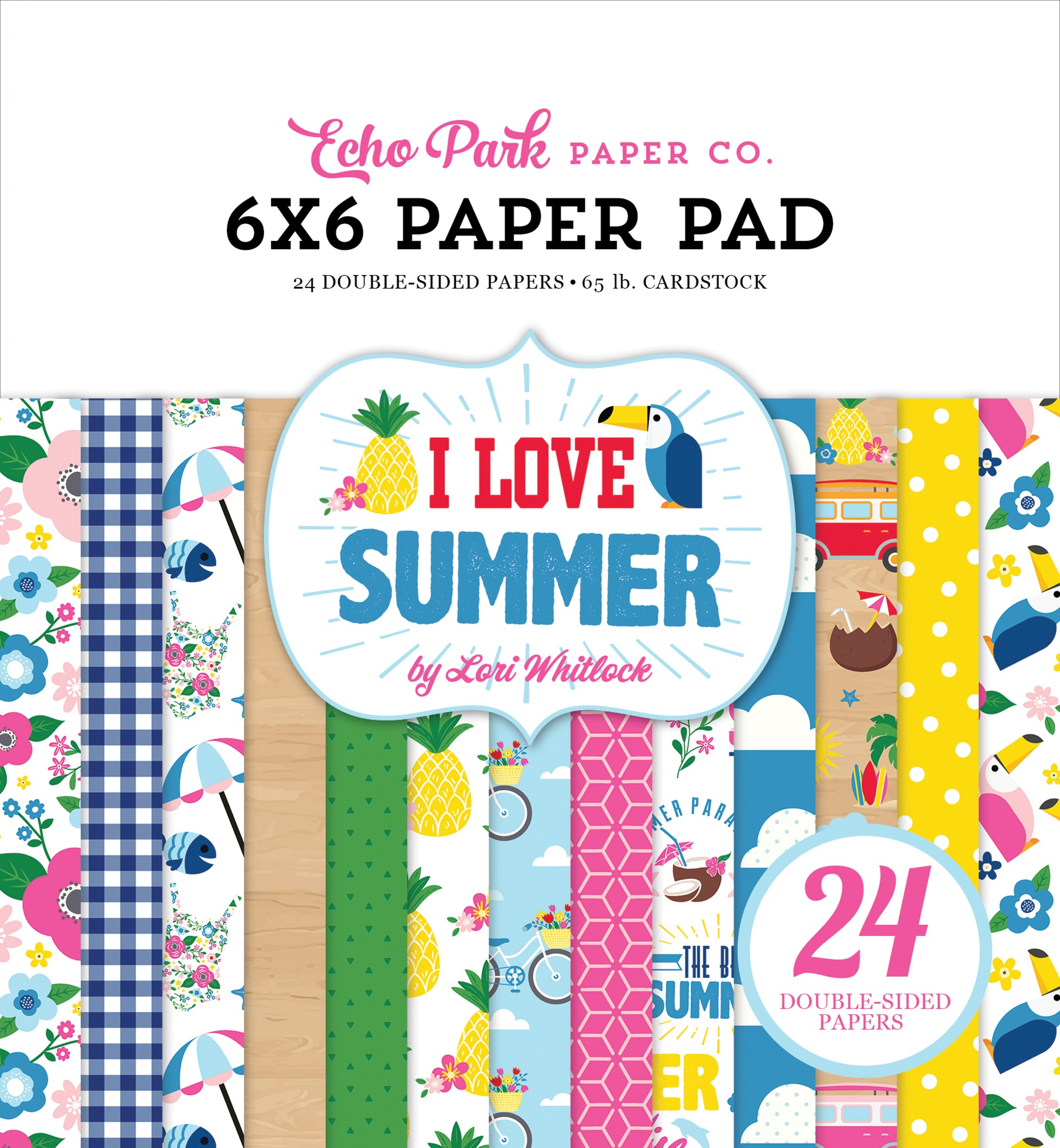 Echo Park Double-Sided Paper Pad 6X6 24/Pkg-I Love Summer, 12 Designs/2 Each
