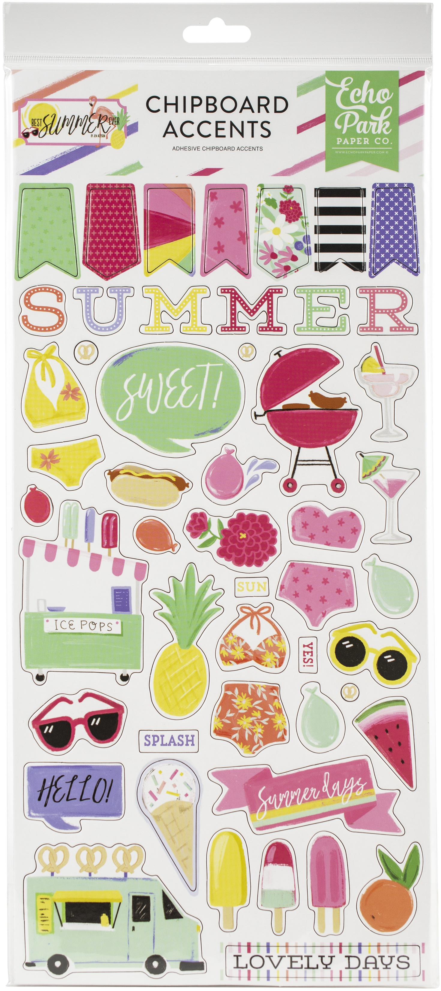 EP Best Summer Ever Chipboard Accents