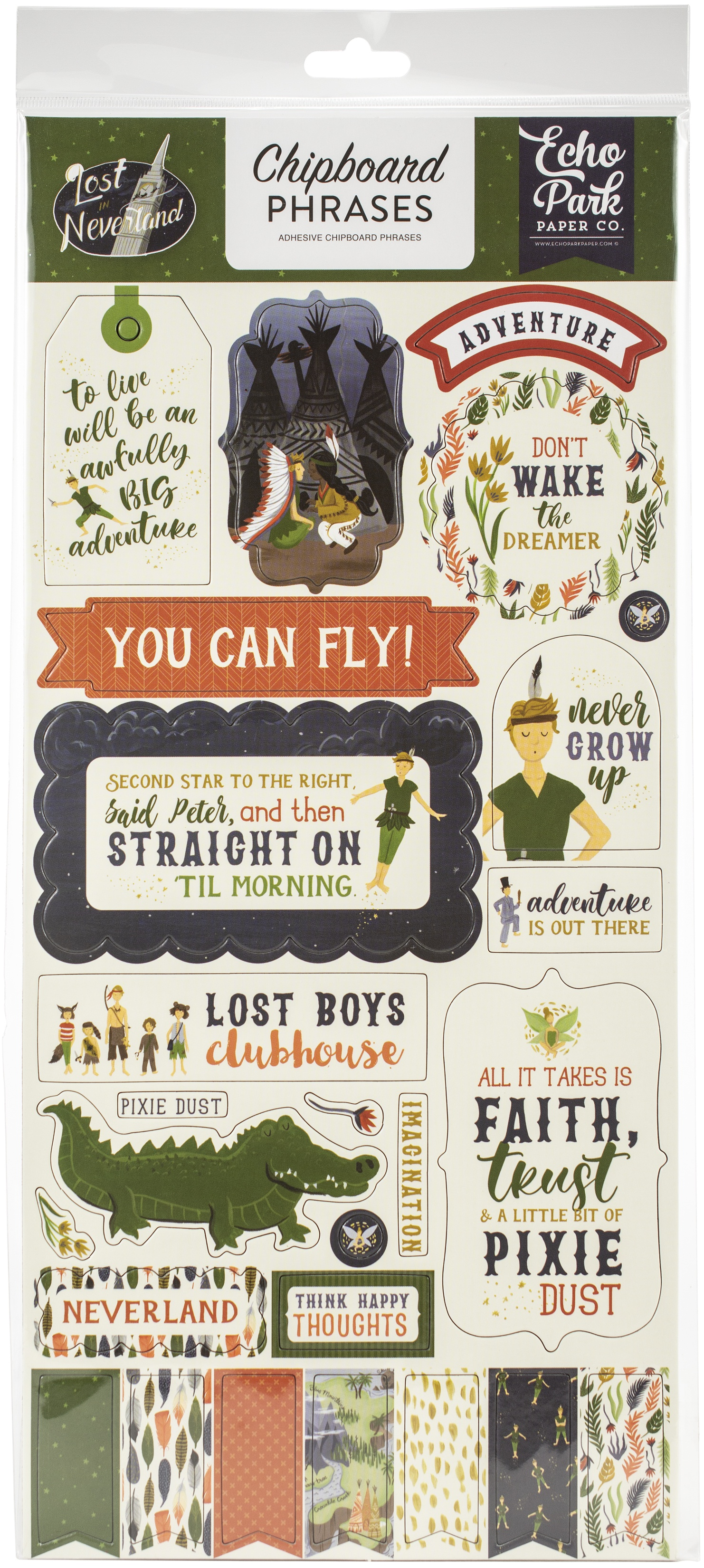 EP Neverland Chipboard Phrases