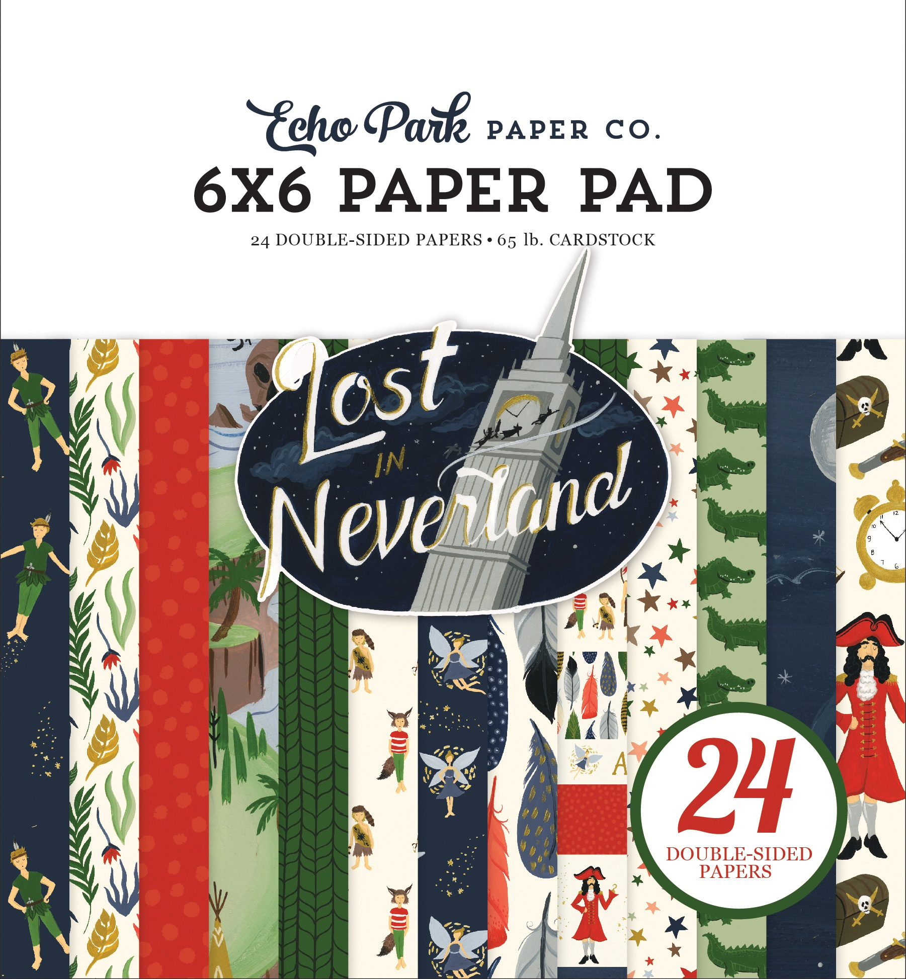 Echo Park Double-Sided Paper Pad 6X6 24/Pkg-Lost In Neverland, 12 Designs/2 Ea...