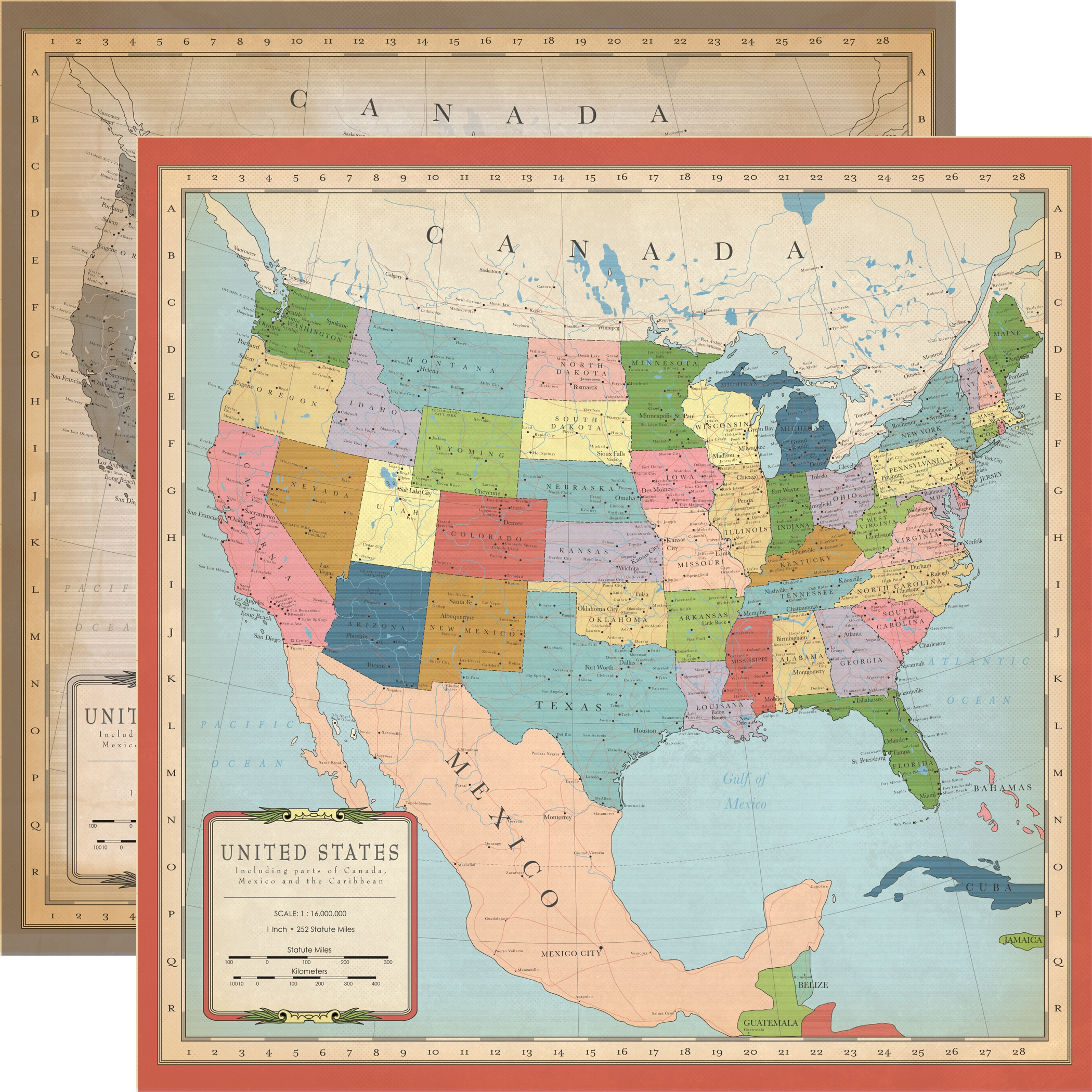 Cartography No.1 Double-Sided Cardstock 12X12-US Map