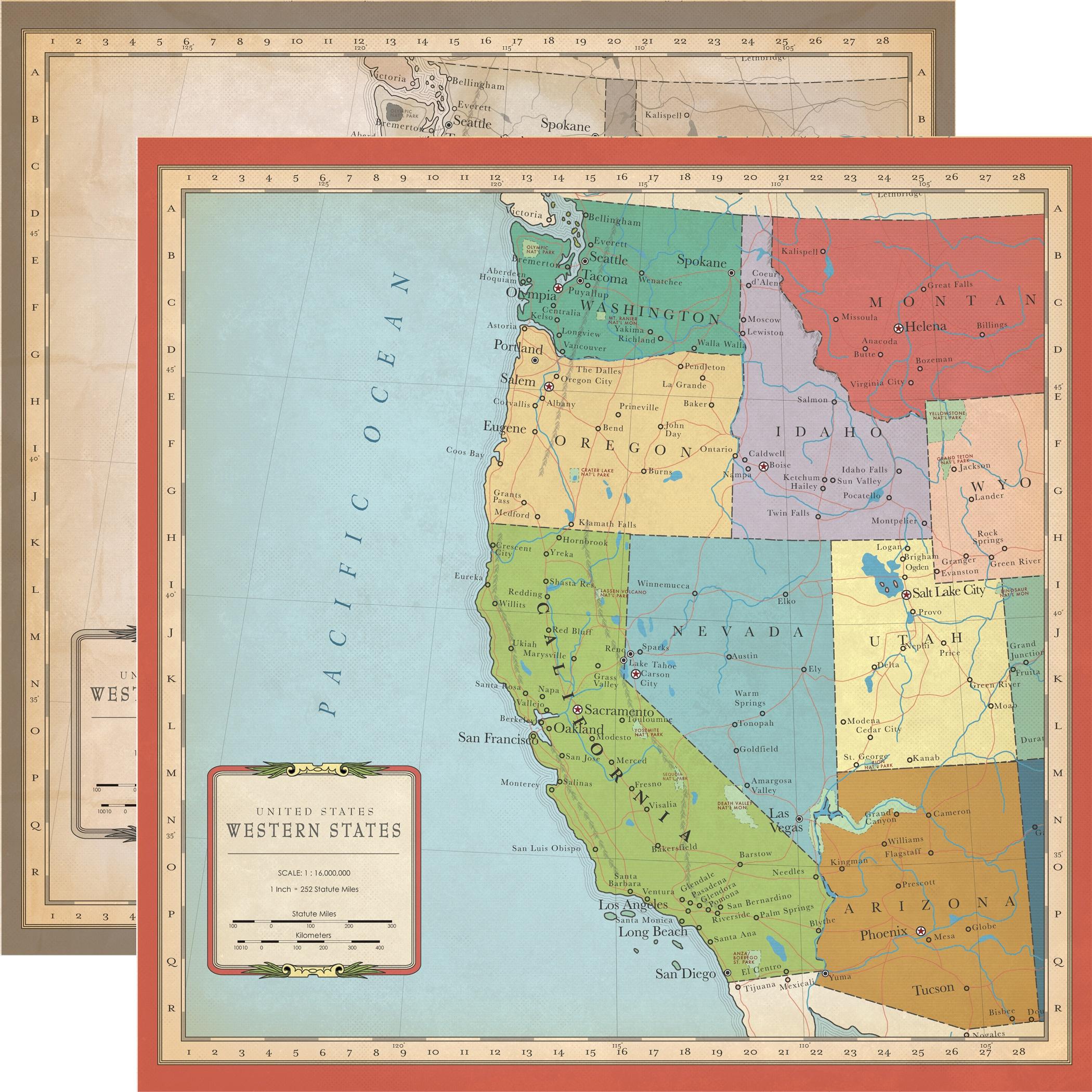Cartography No.1 - U.S. West Coast Map