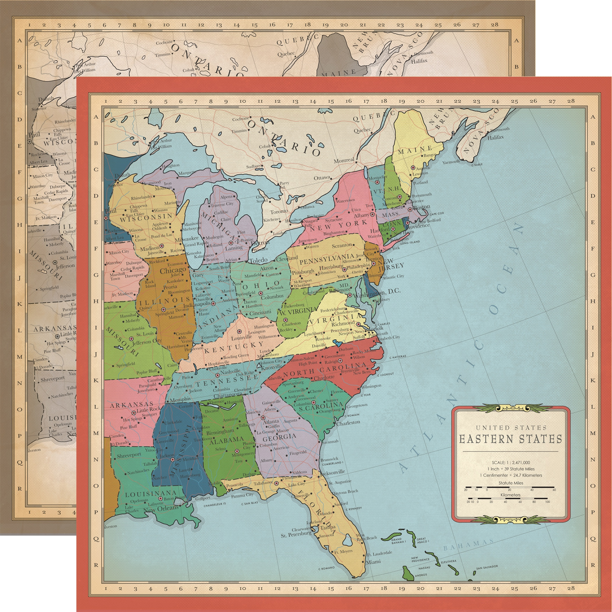 Cartography No.1 Double-Sided Cardstock 12X12-US East Coast