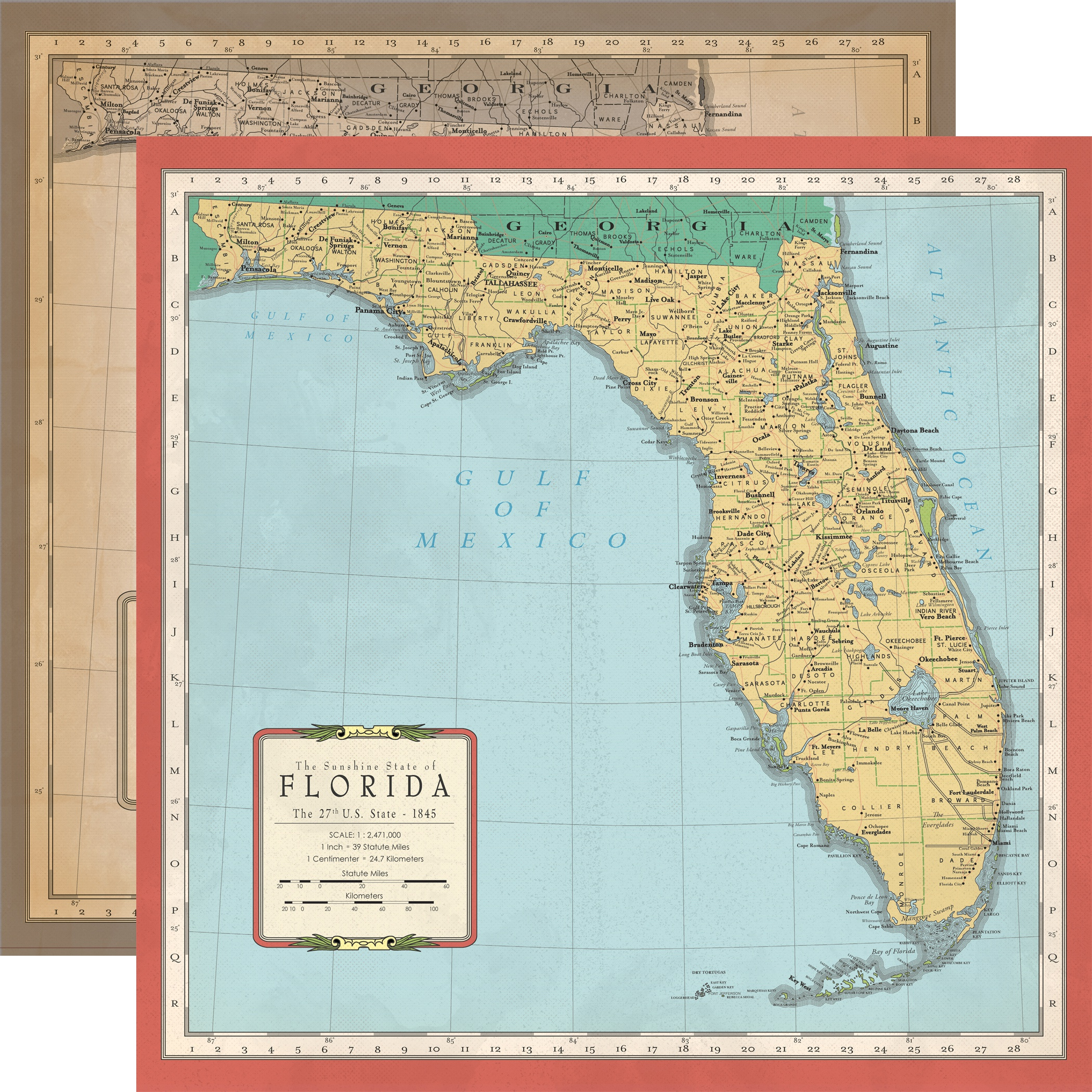 Cartography No.1 Double-Sided Cardstock 12X12-Florida Map