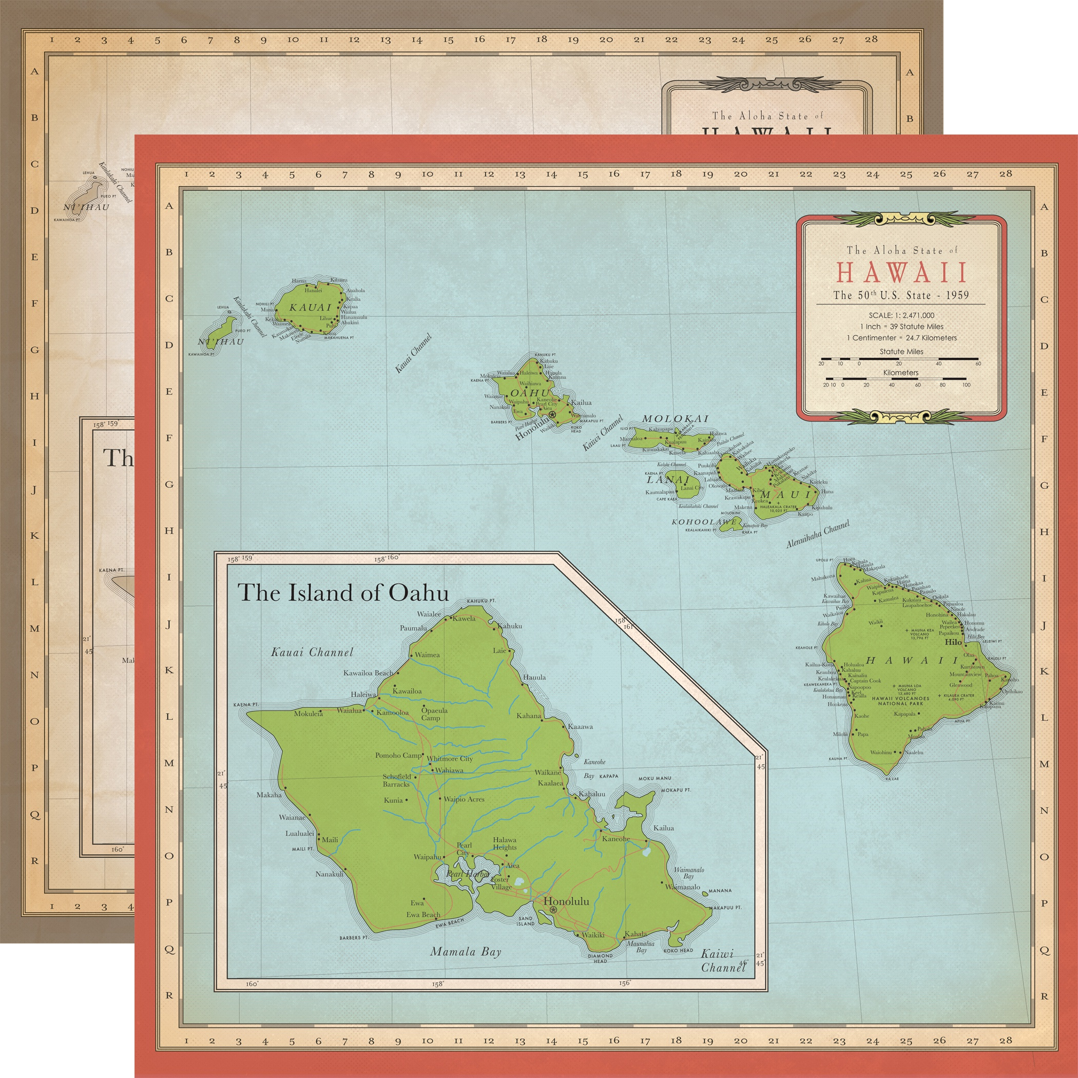 Cartography No.1 Double-Sided Cardstock 12X12-Hawaii Map