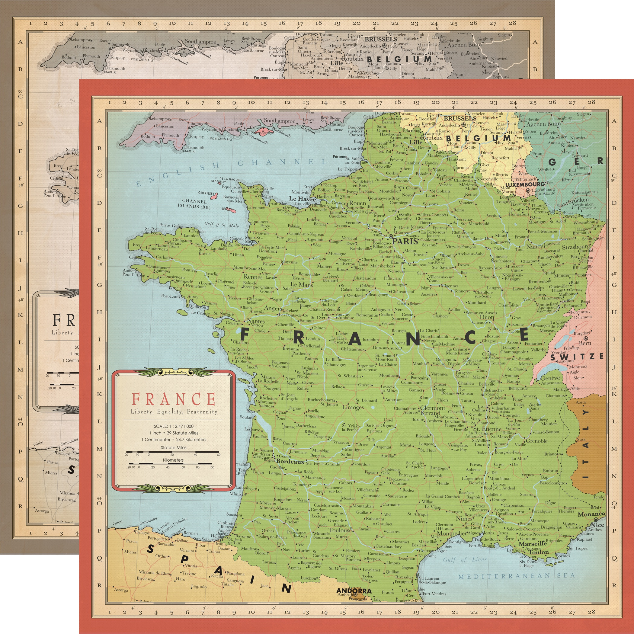 Cartography No.1 Double-Sided Cardstock 12X12-France Map