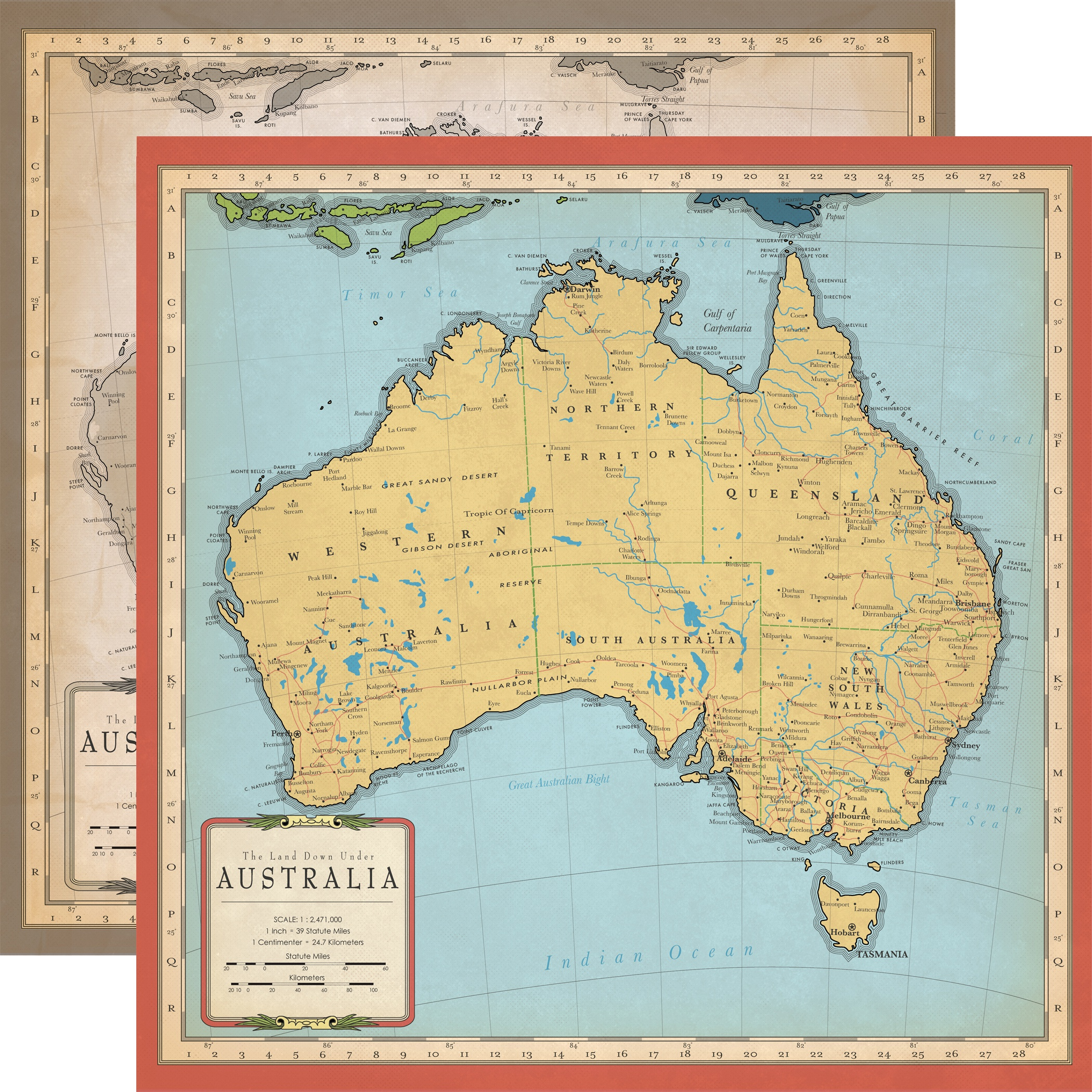 Cartography No.1 Double-Sided Cardstock 12X12-Australia Map