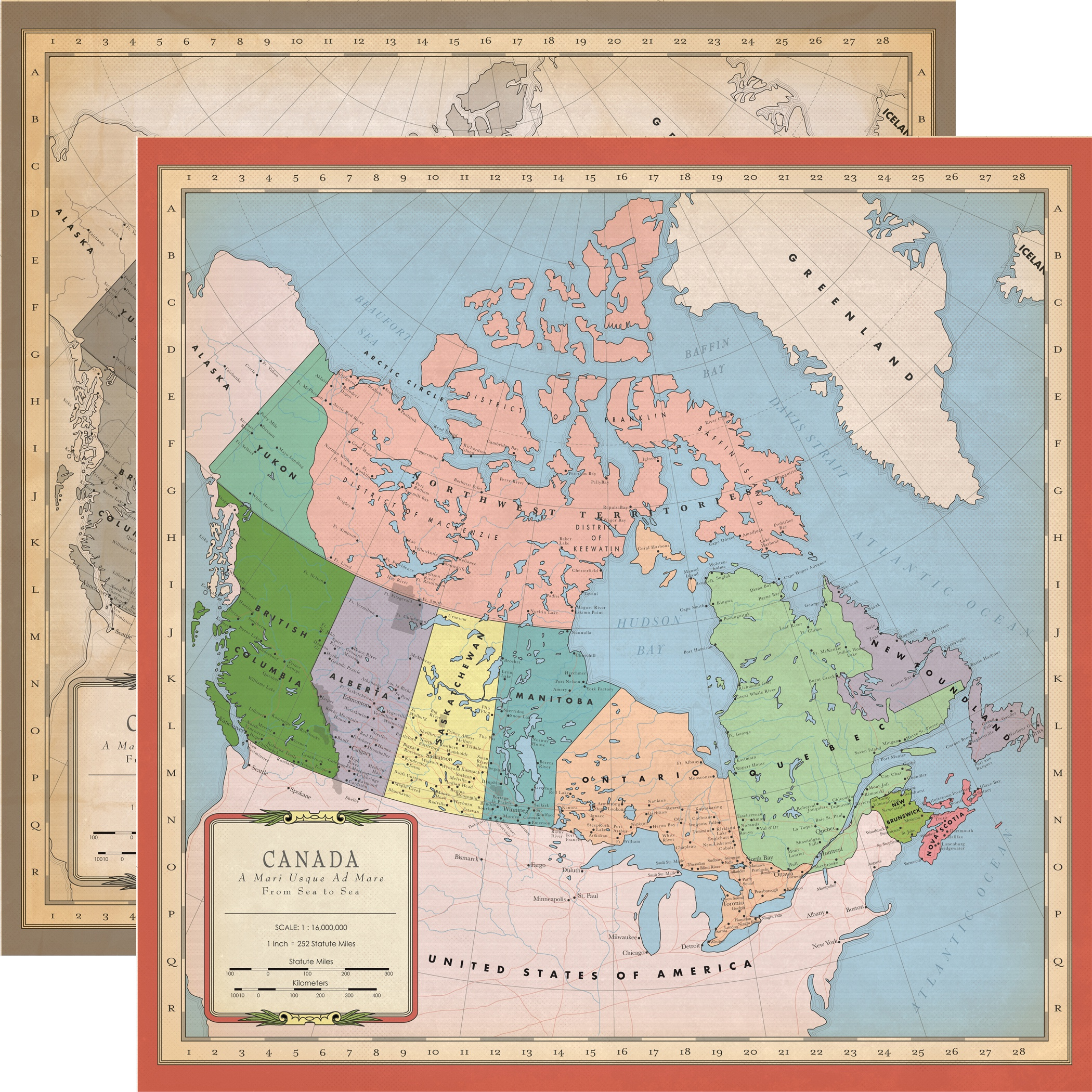 Cartography No.1 Double-Sided Cardstock 12X12-Canada Map