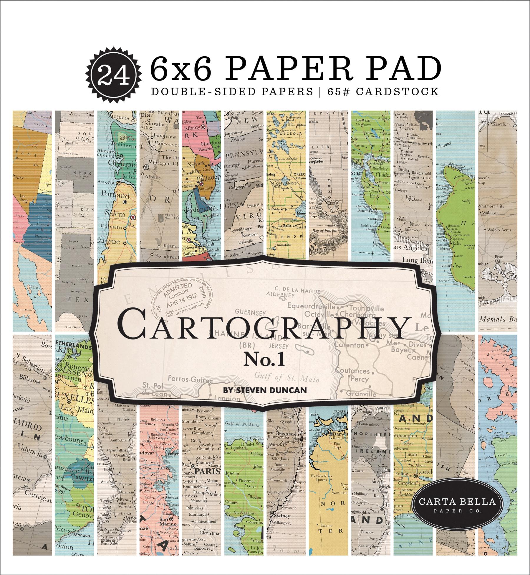 Carta Bella Double-Sided Paper Pad 6X6 24/Pkg-Cartography No.1, 12 Designs/2 E...