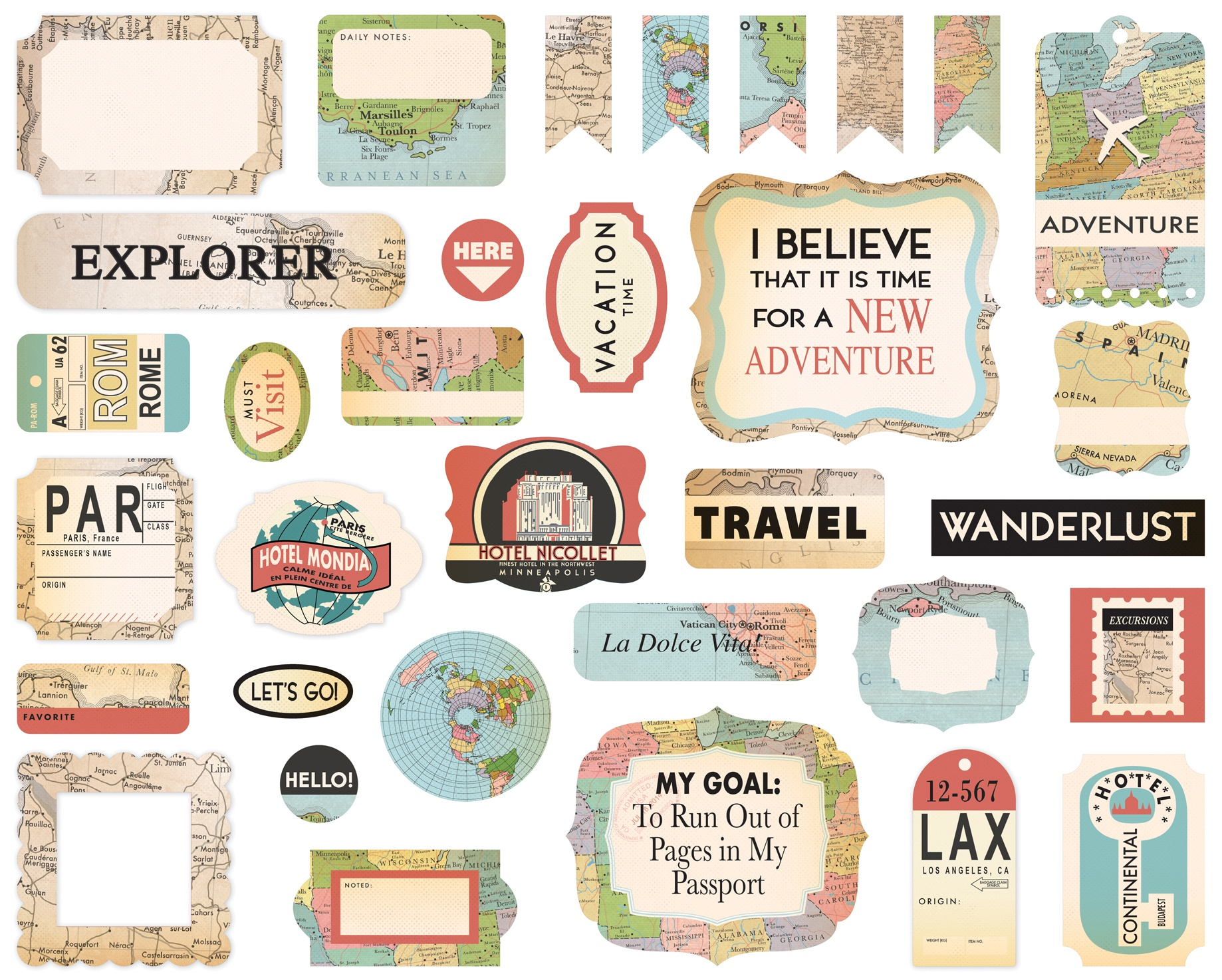 Cartography No.1 Ephemera Cardstock Die-Cuts 33/Pkg-Icons