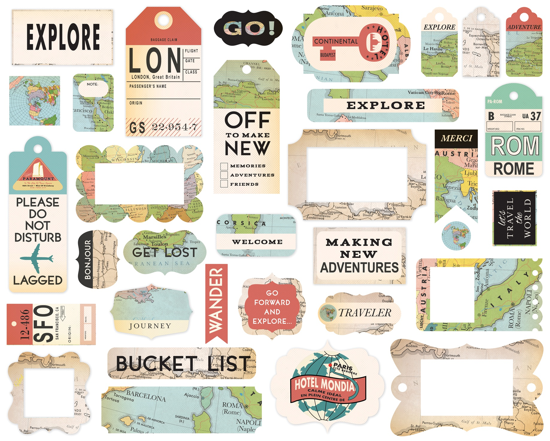 Cartography No.1 Ephemera Cardstock Die-Cuts 33/Pkg-Frames & Tags