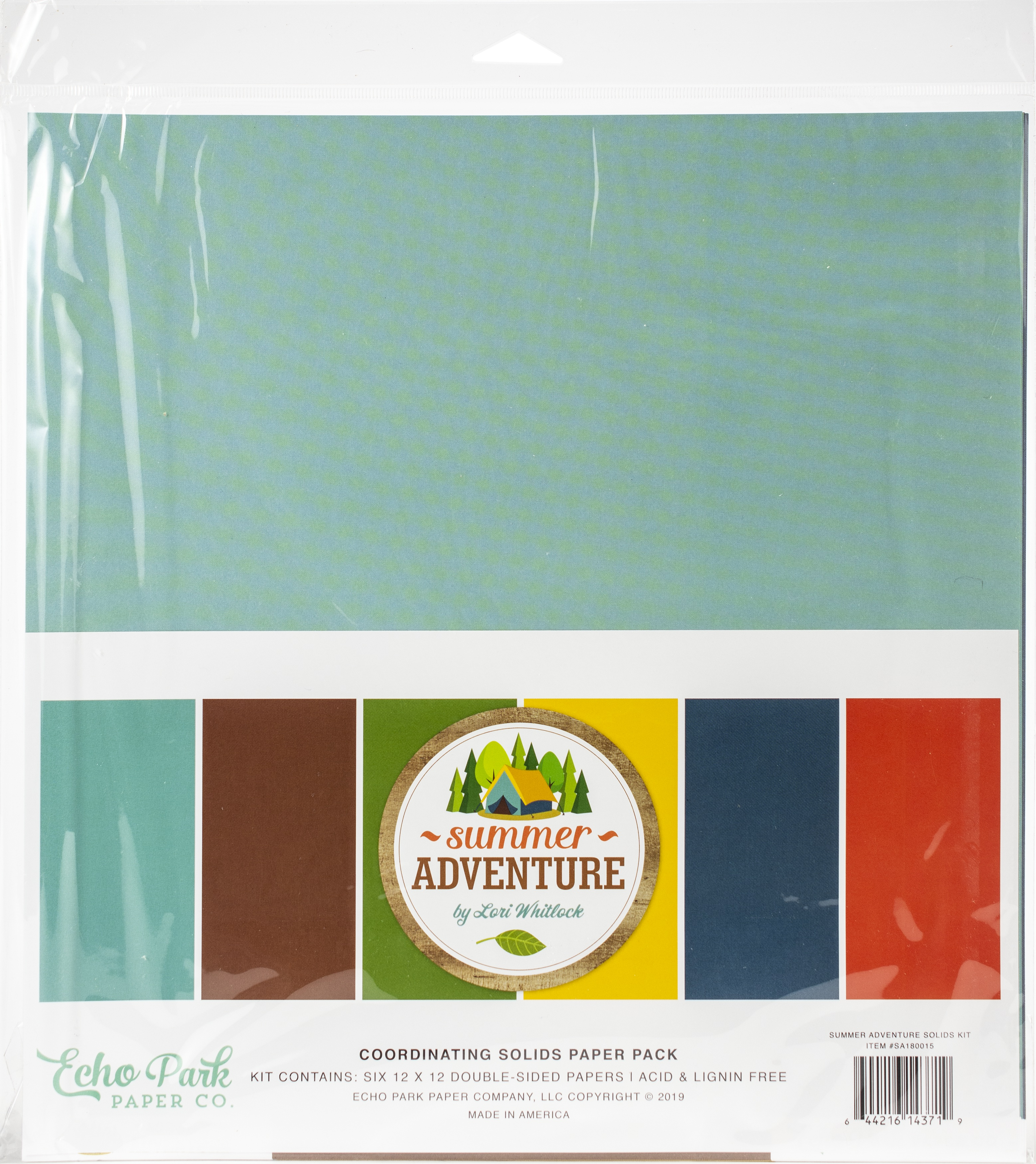 Summer Adventure Echo Park Double-Sided Solid Cardstock 12X12 6/Pkg 6 Colors
