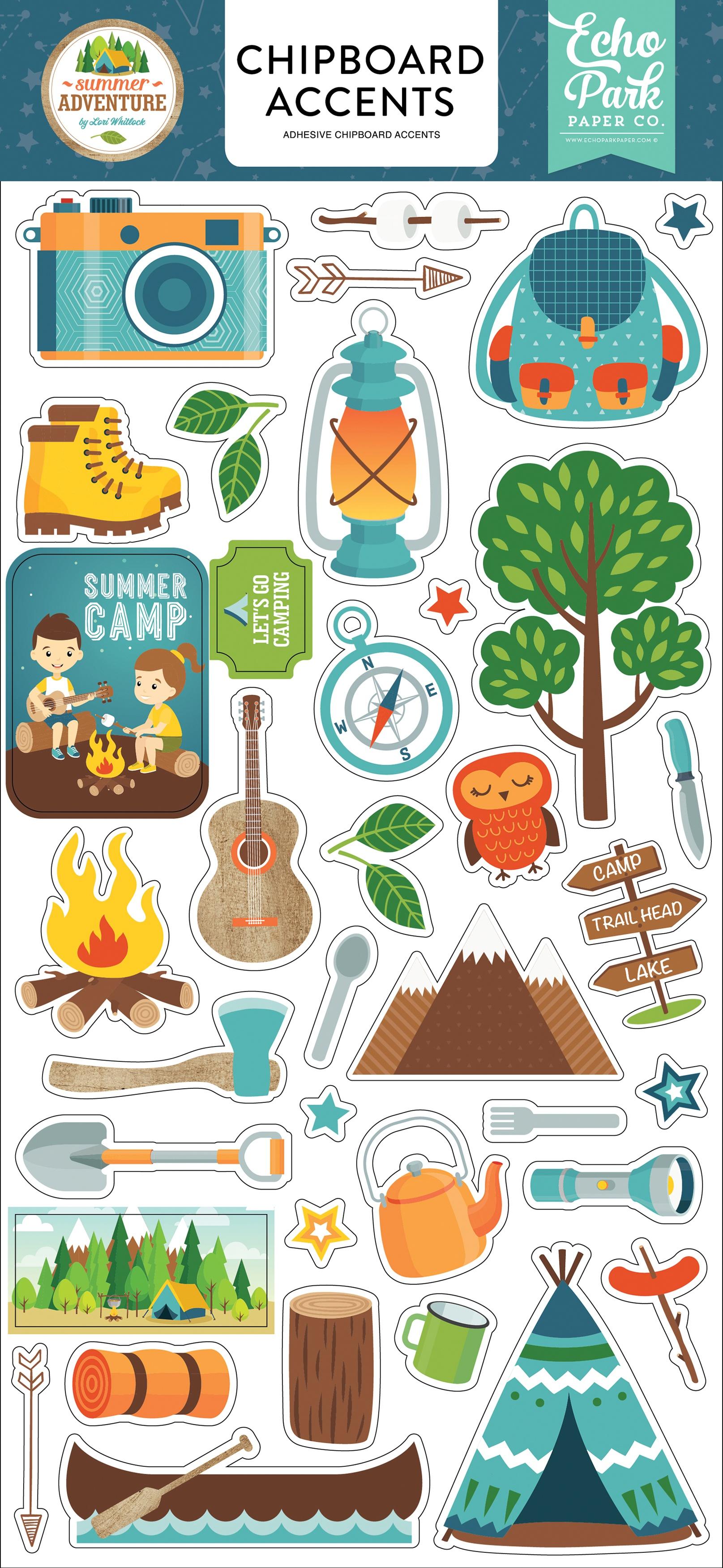 Summer Adventure Chipboard 6X13-Accents