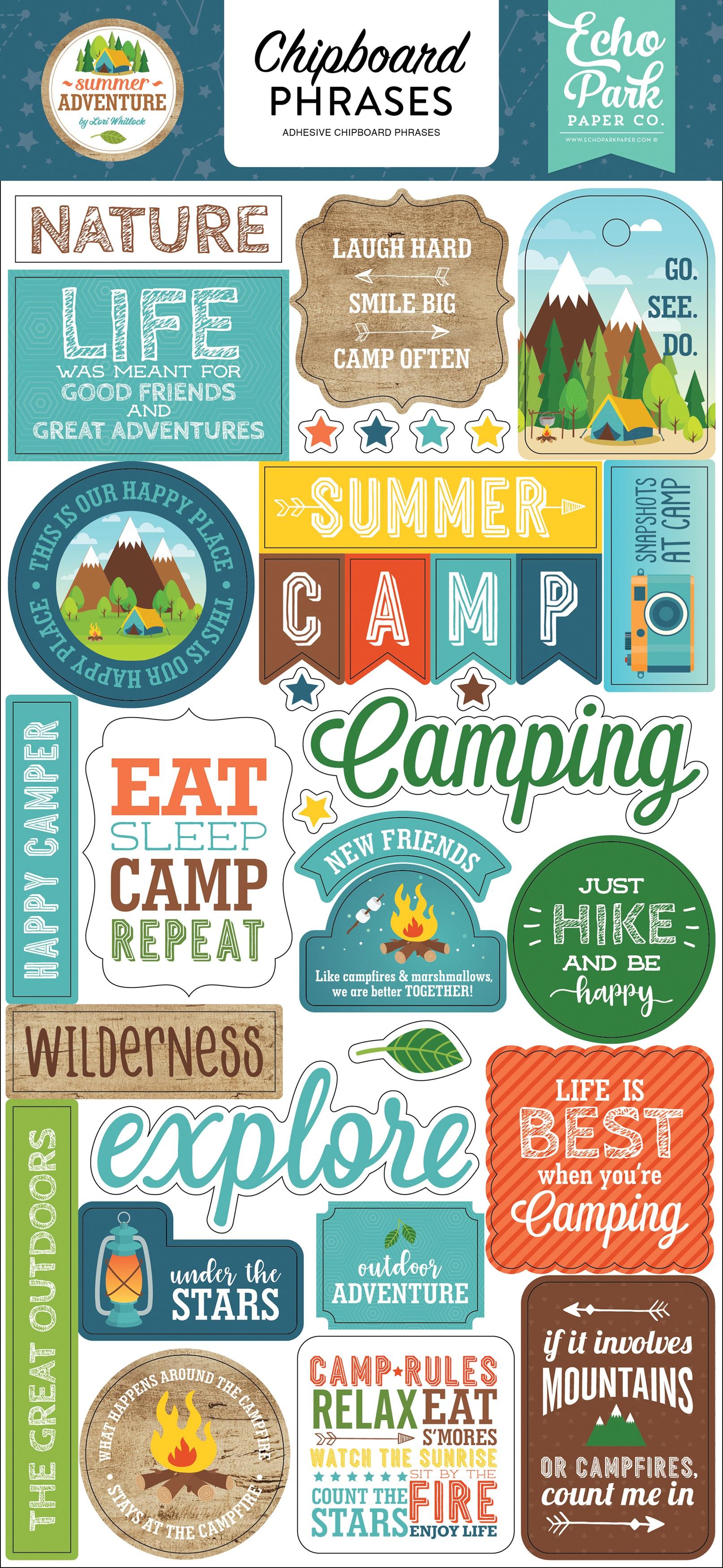 Summer Adventure Chipboard 6X13-Phrases